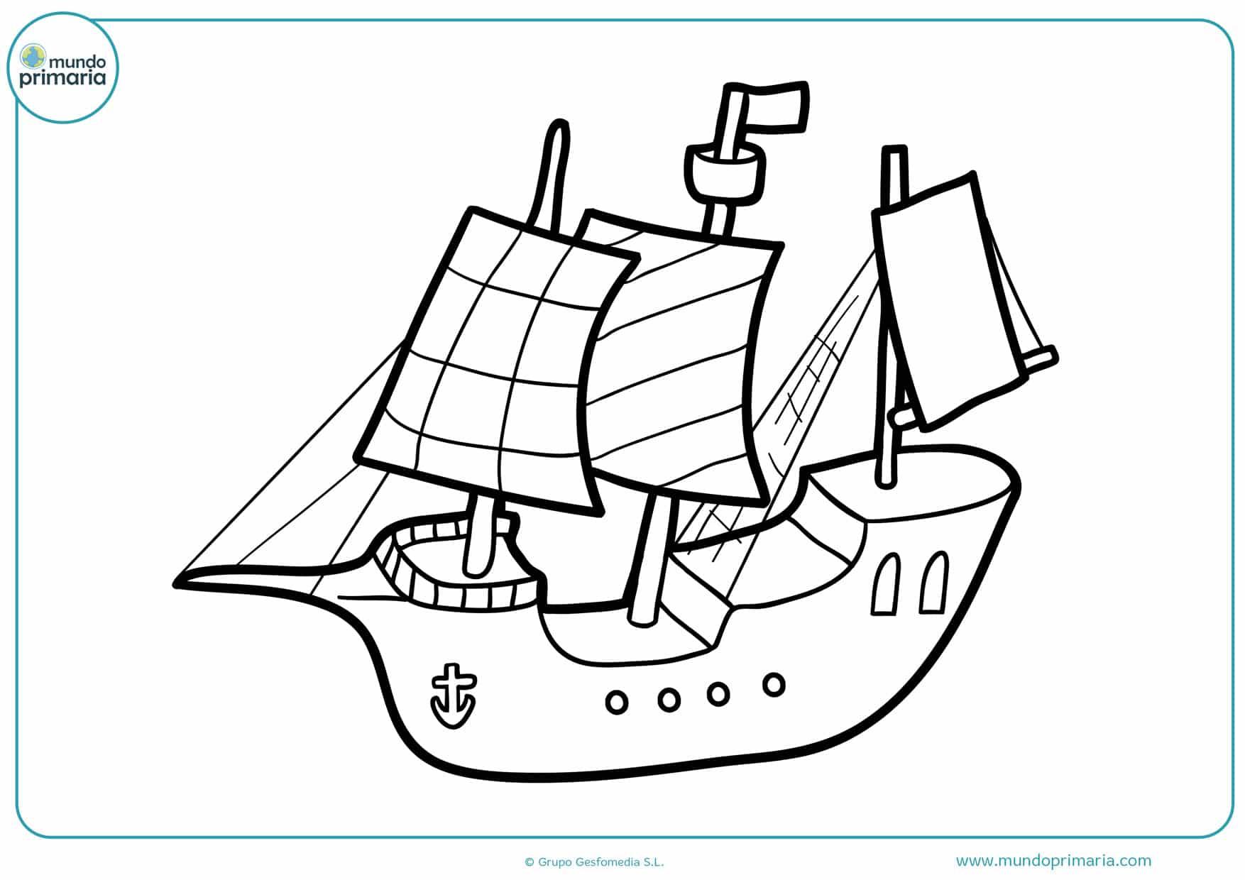 barco dibujo para colorear