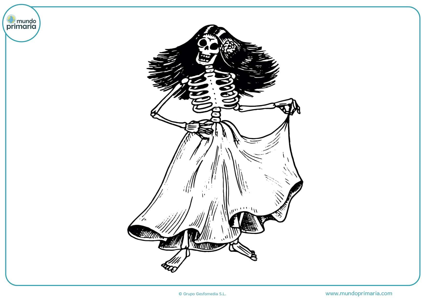 día de los muertos mujer dibujo