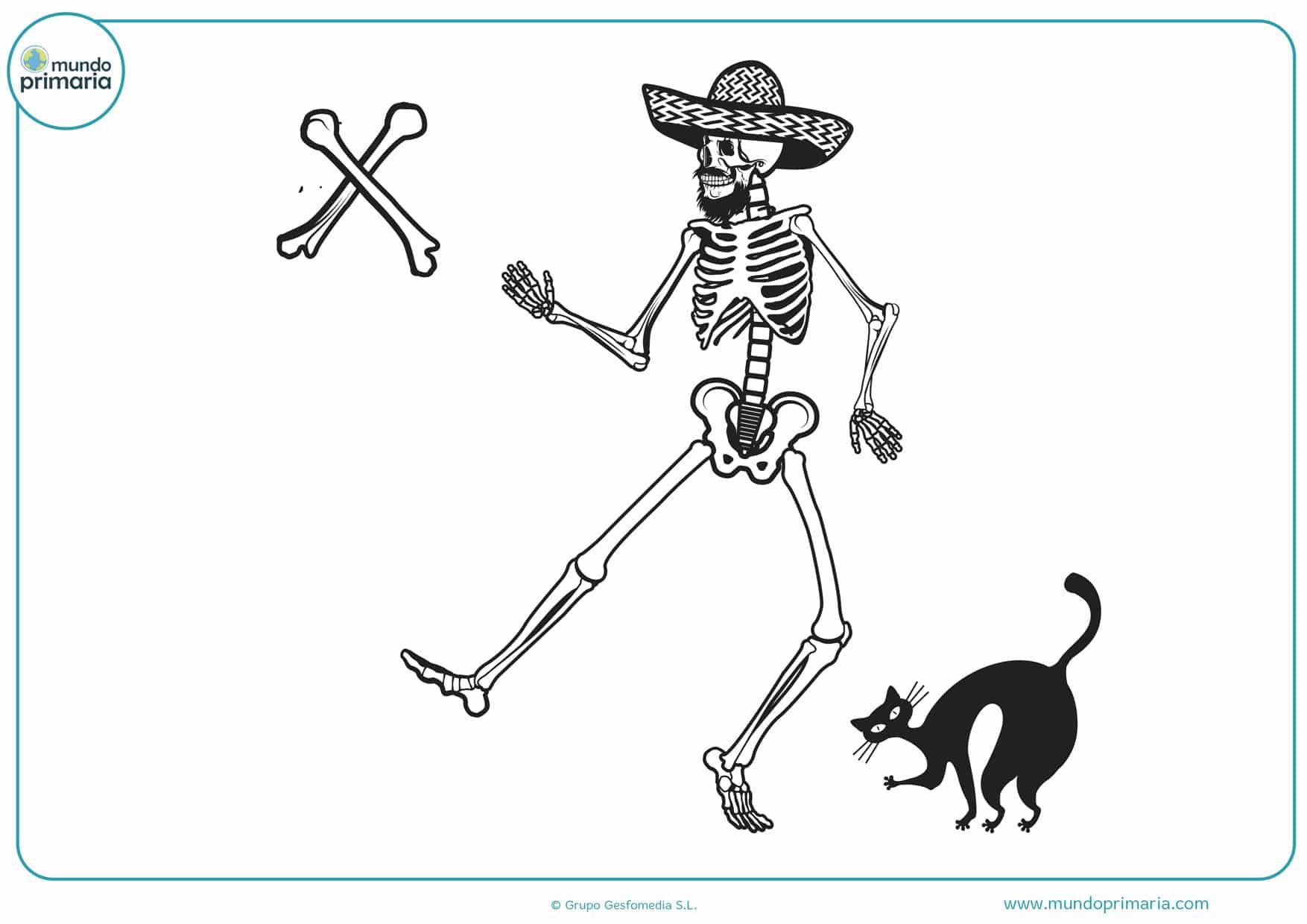 dibujo del día de los muertos para imprimir y pintar