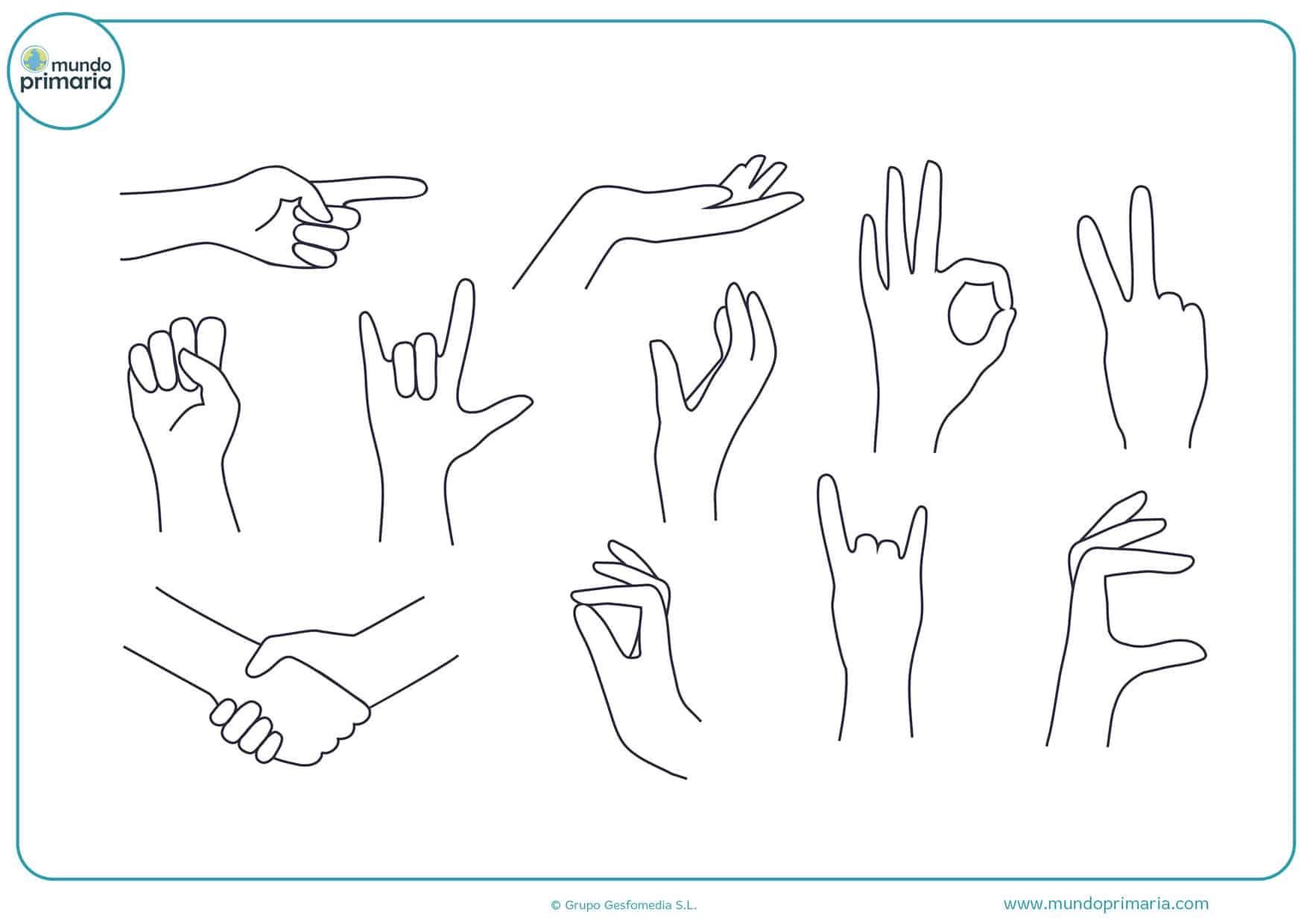dibujo de manos con formas para colorear