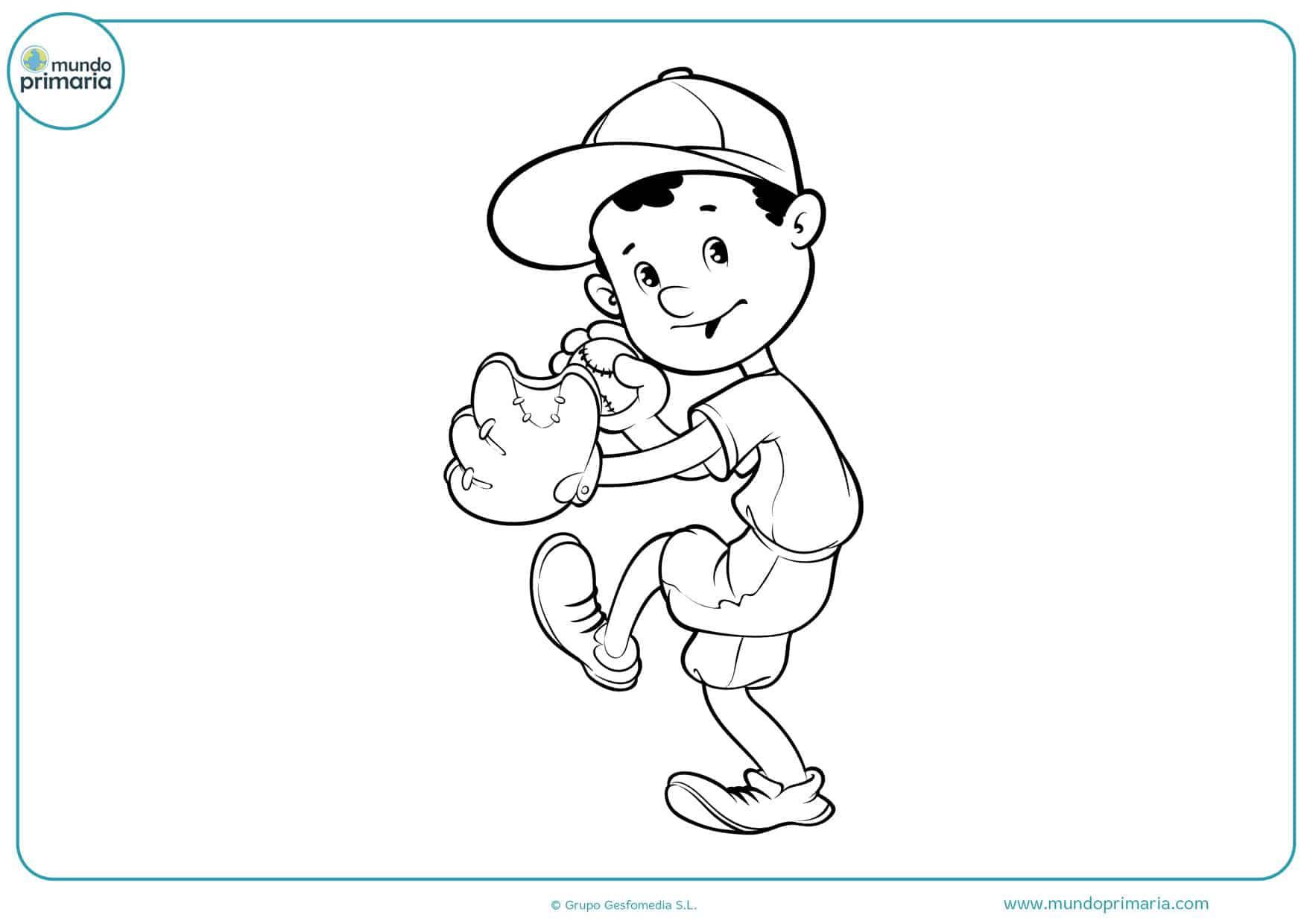 dibujos animados de béisbol para colorear