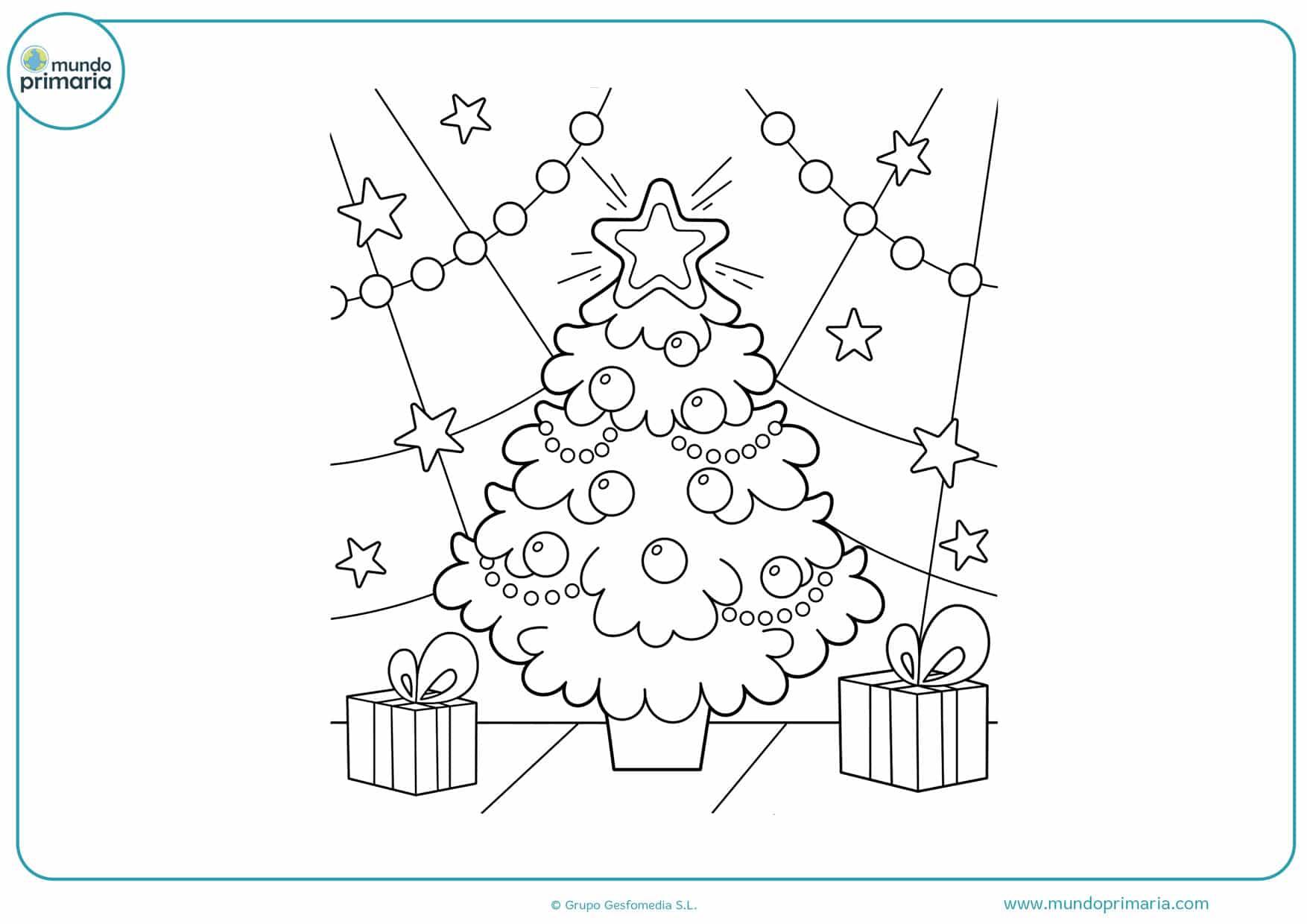 dibujos de arboles de navidad con regalos para colorear