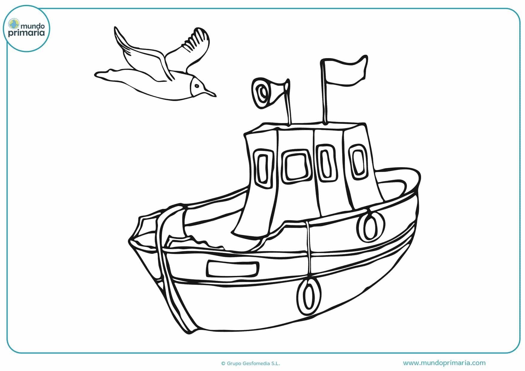 dibujos de barcos para colorear fáciles