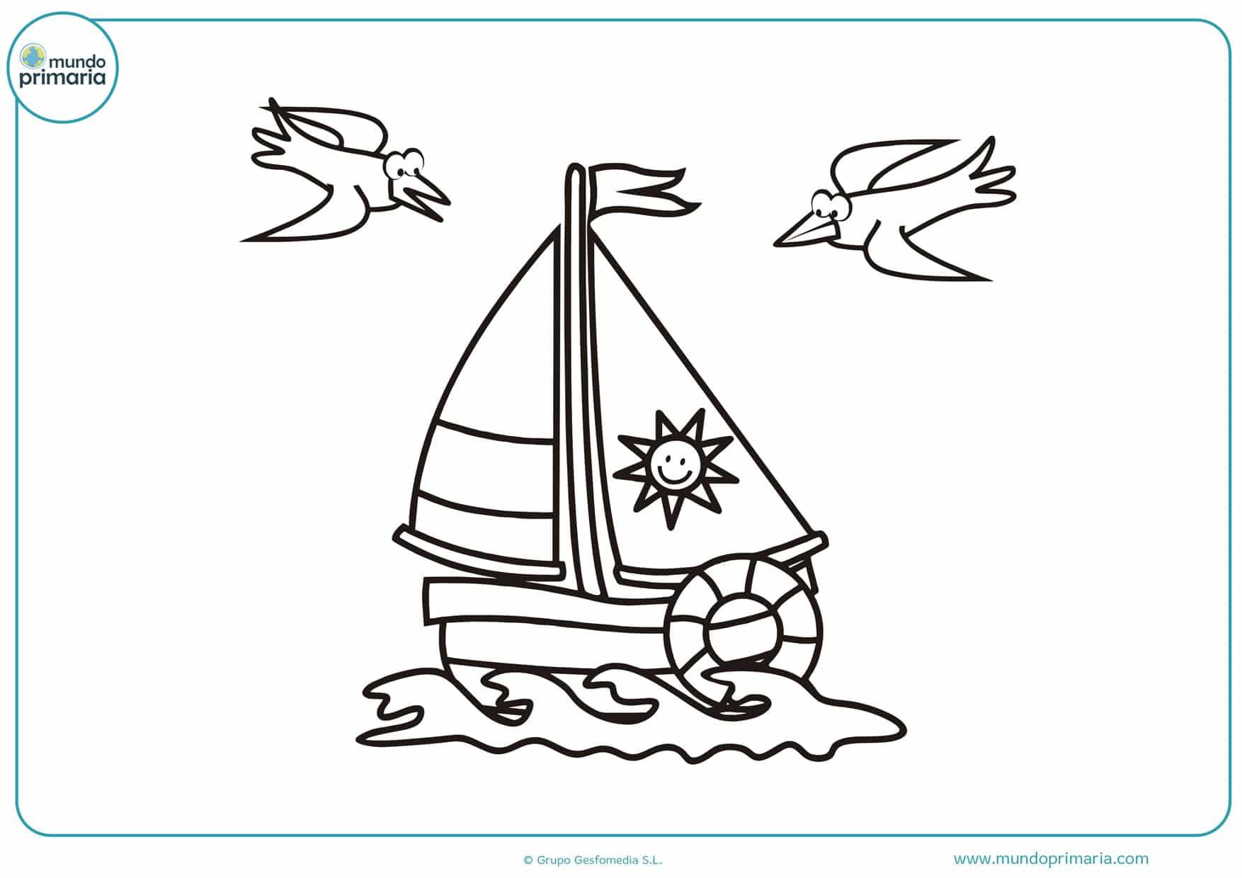 dibujos de barcos para colorear para niños
