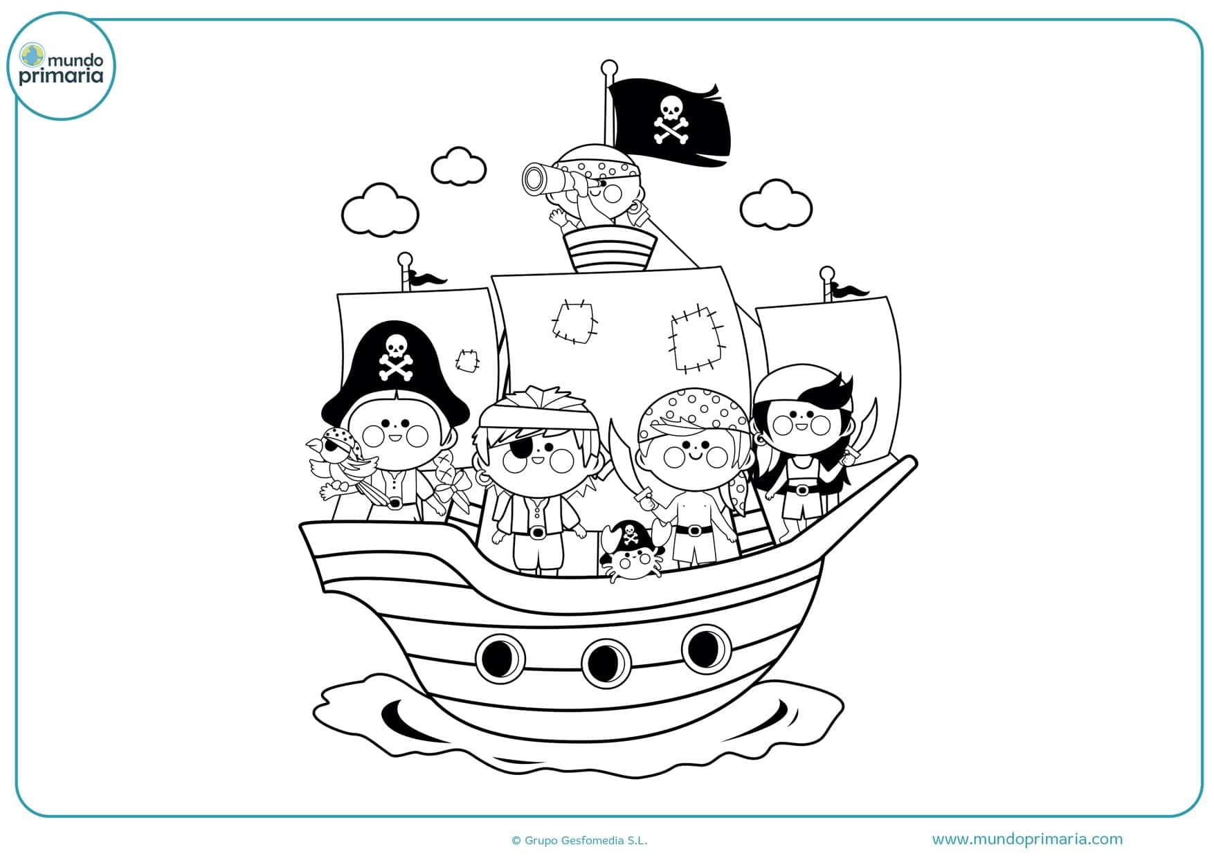 dibujos de barcos piratas animados para colorear