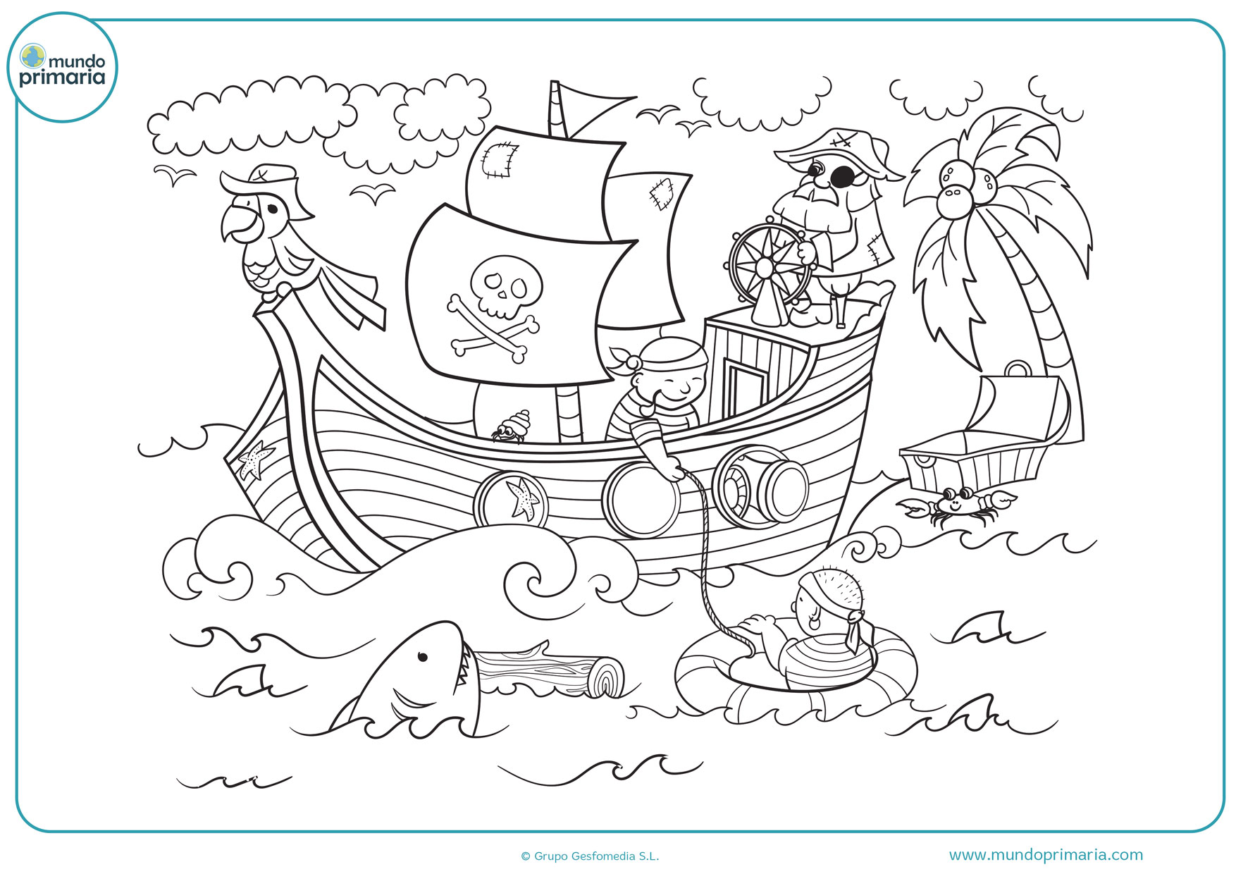 dibujos de barcos piratas infantiles para colorear