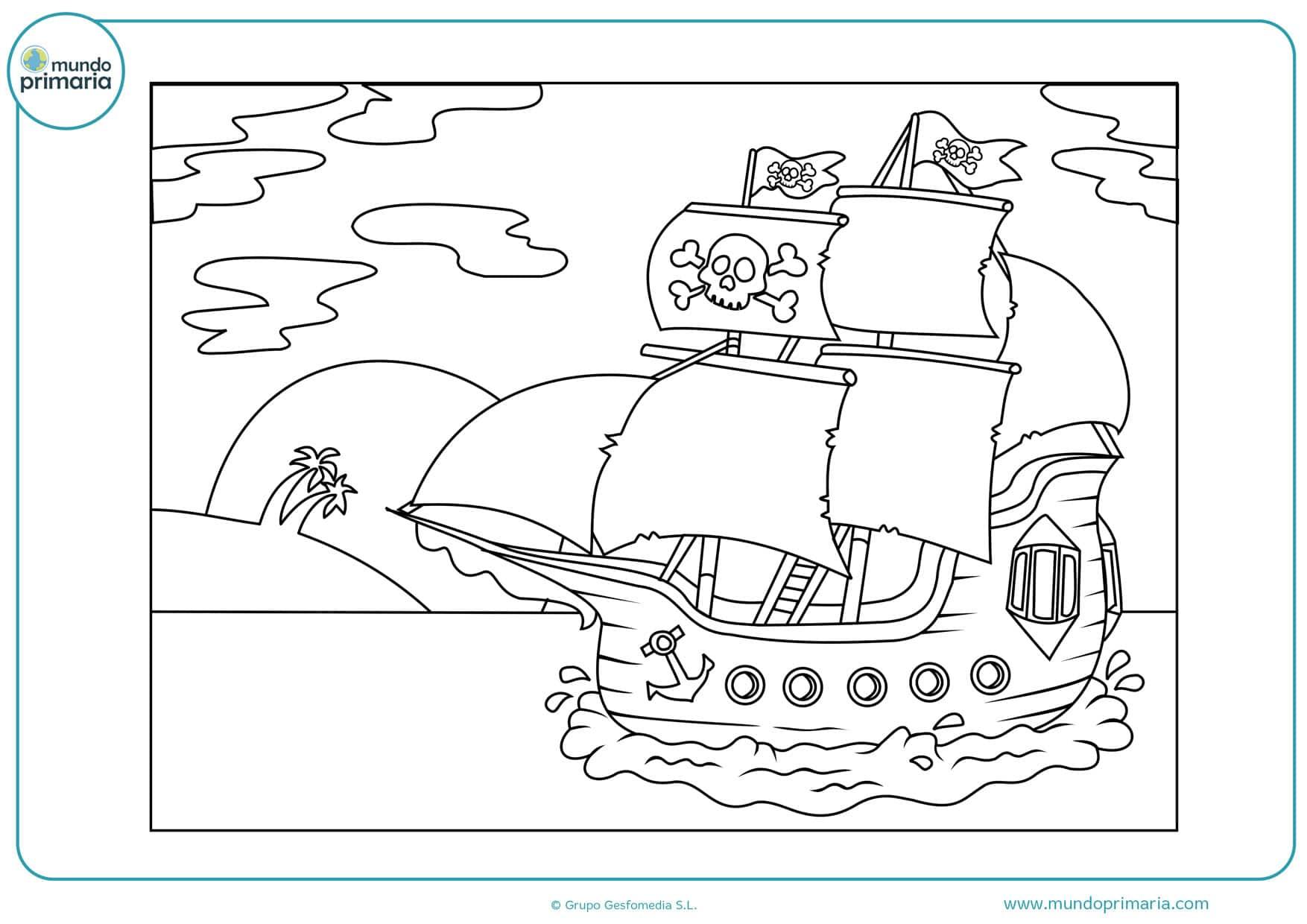 dibujos de barcos de piratas para colorear