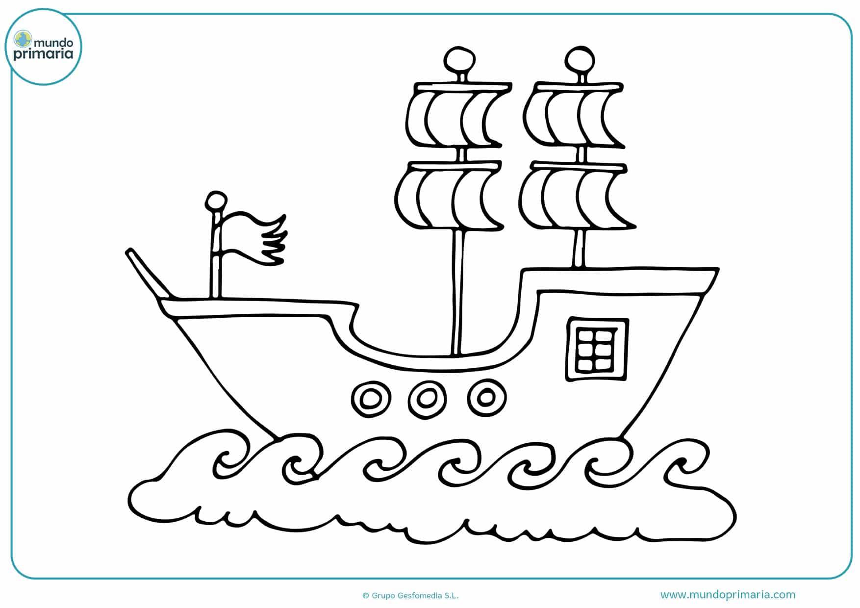 dibujos de barcos piratas para imprimir y colorear