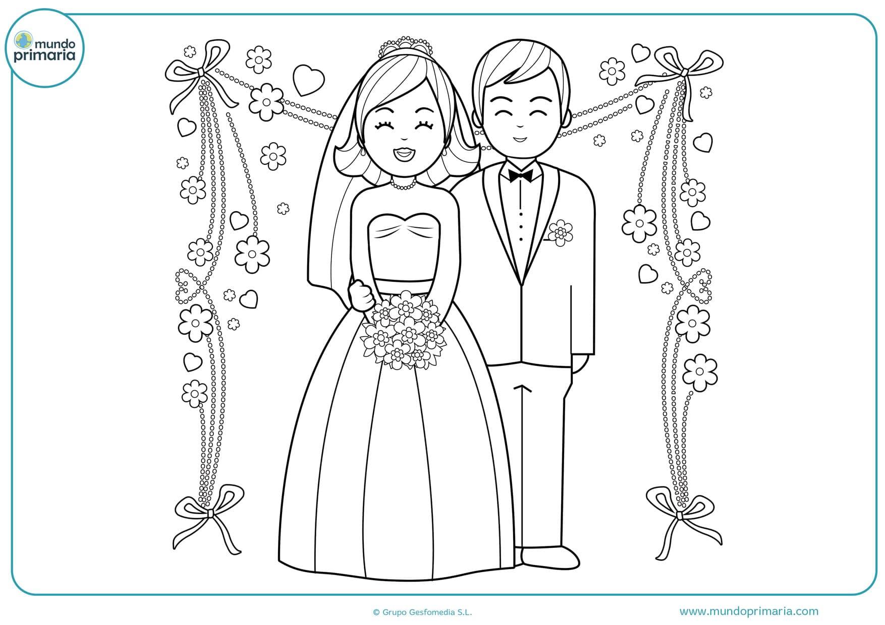 dibujos de bodas animadas para colorear