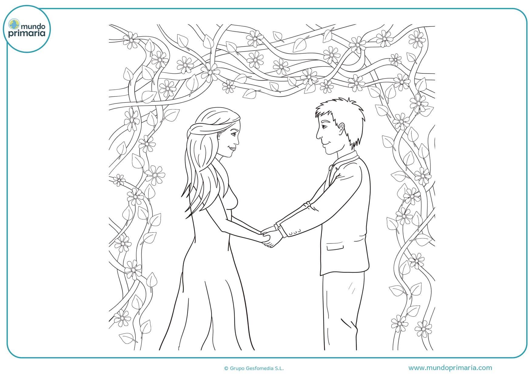 dibujos de bodas para imprimir y colorear