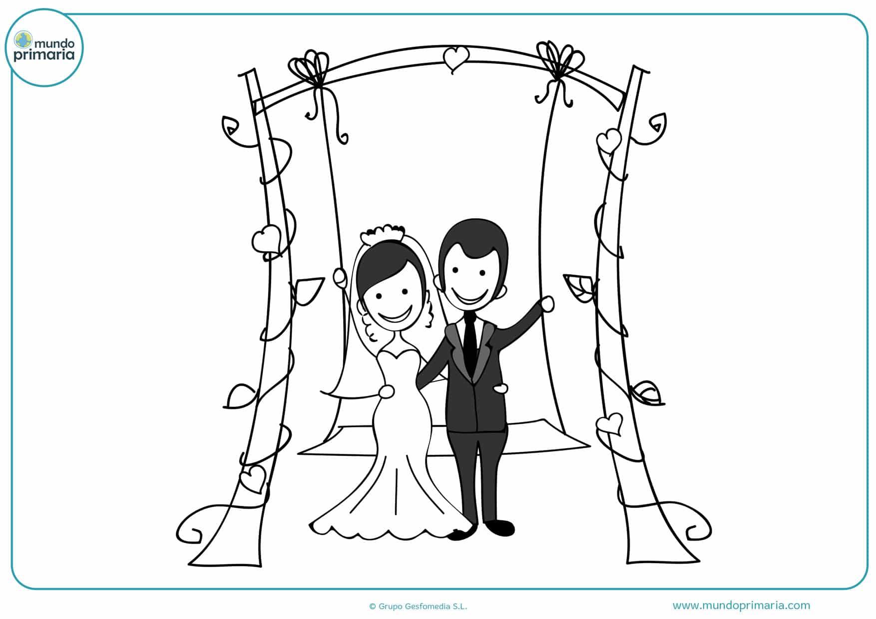 dibujos de bodas para imprimir y pintar