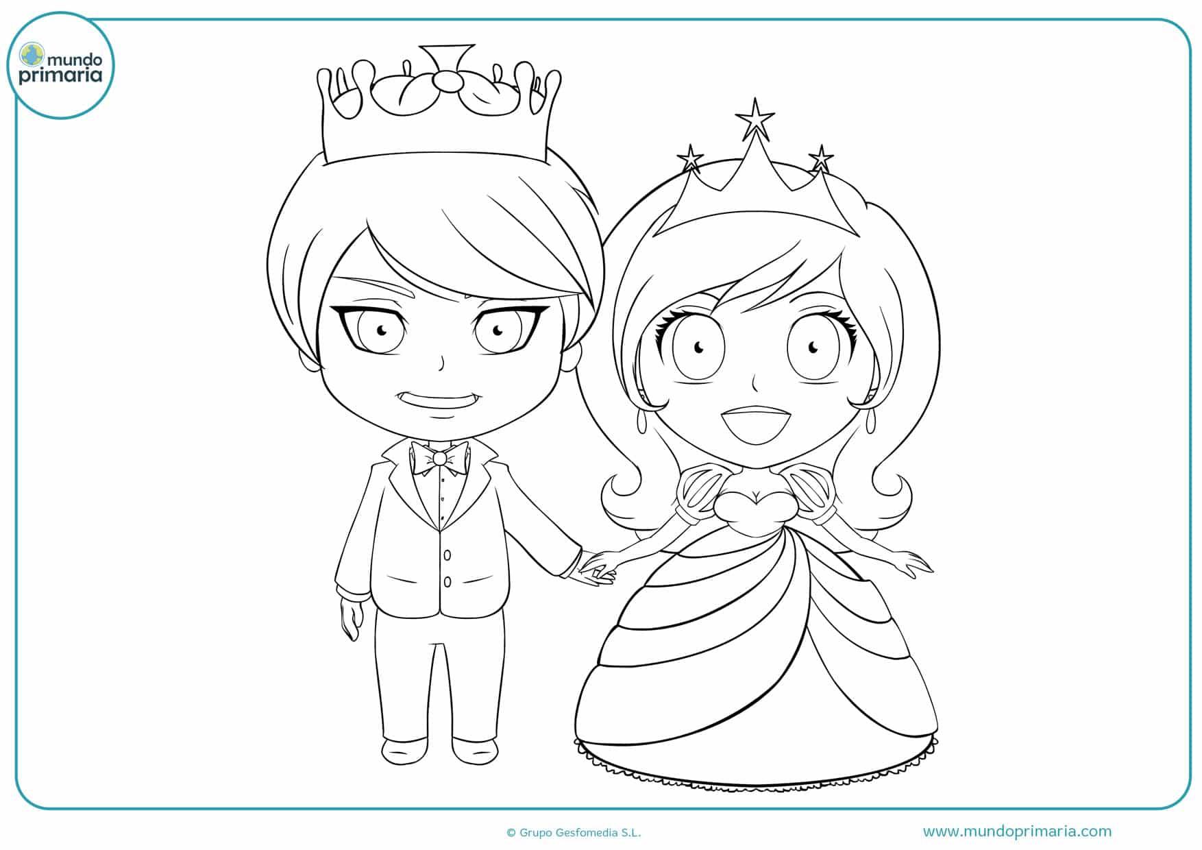dibujos de bodas de príncipes para colorear