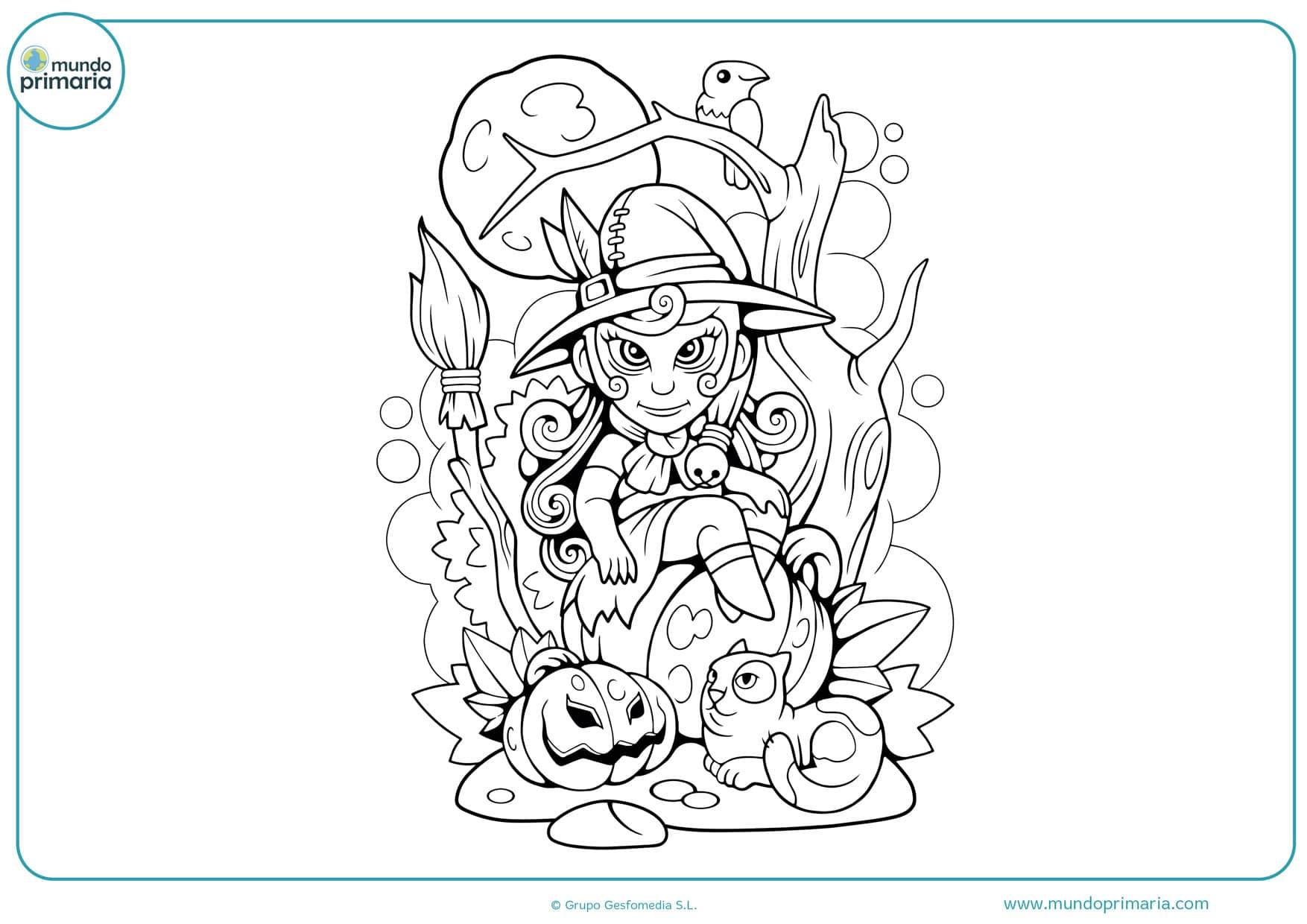 dibujos de brujas con escoba para colorear