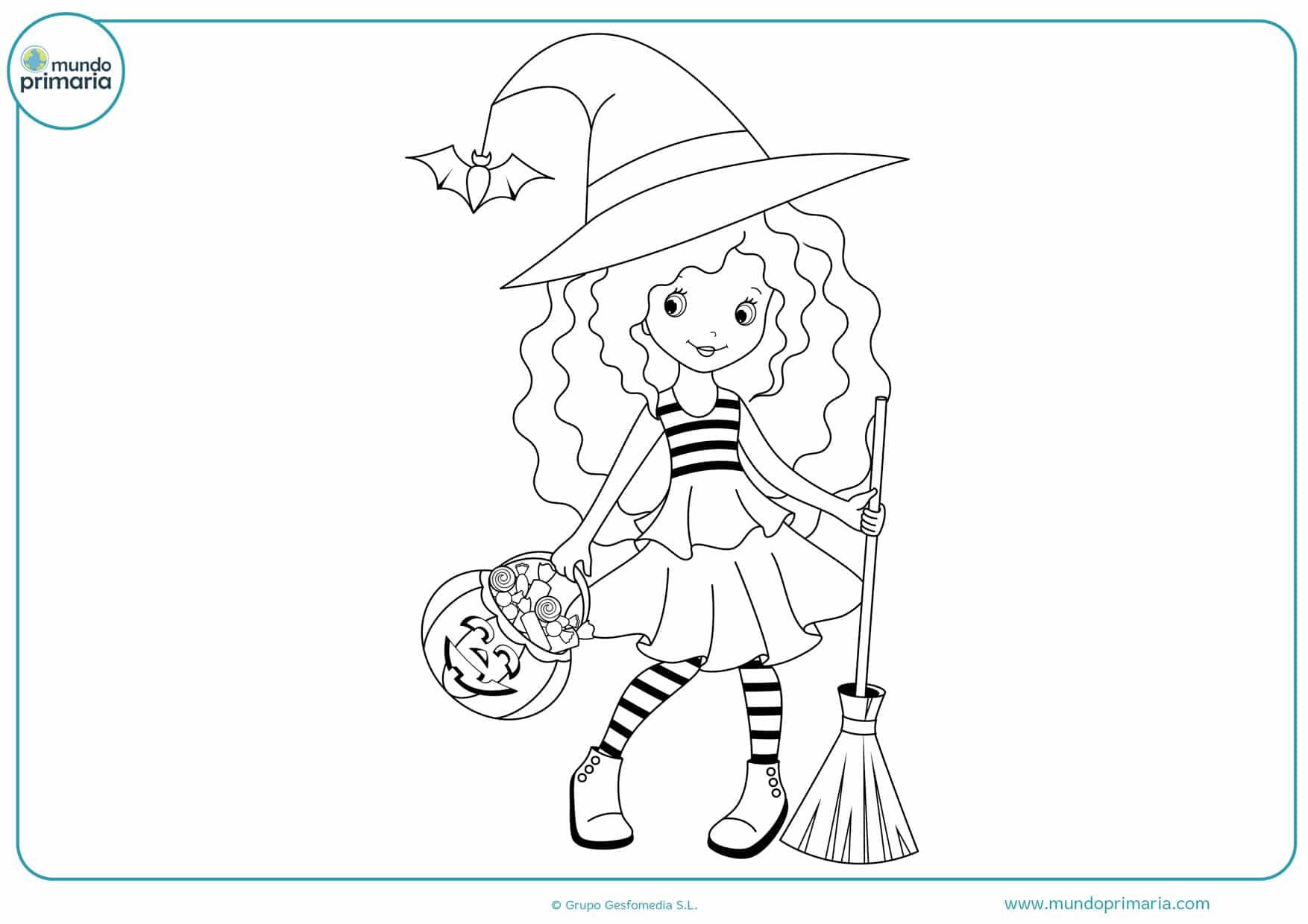 dibujos de brujas halloween para colorear
