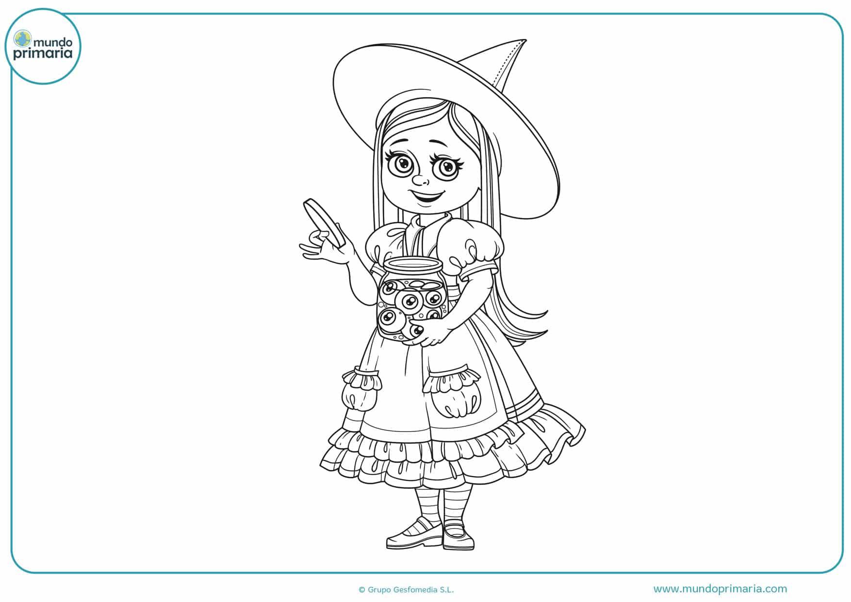 dibujos de brujas para colorear de halloween