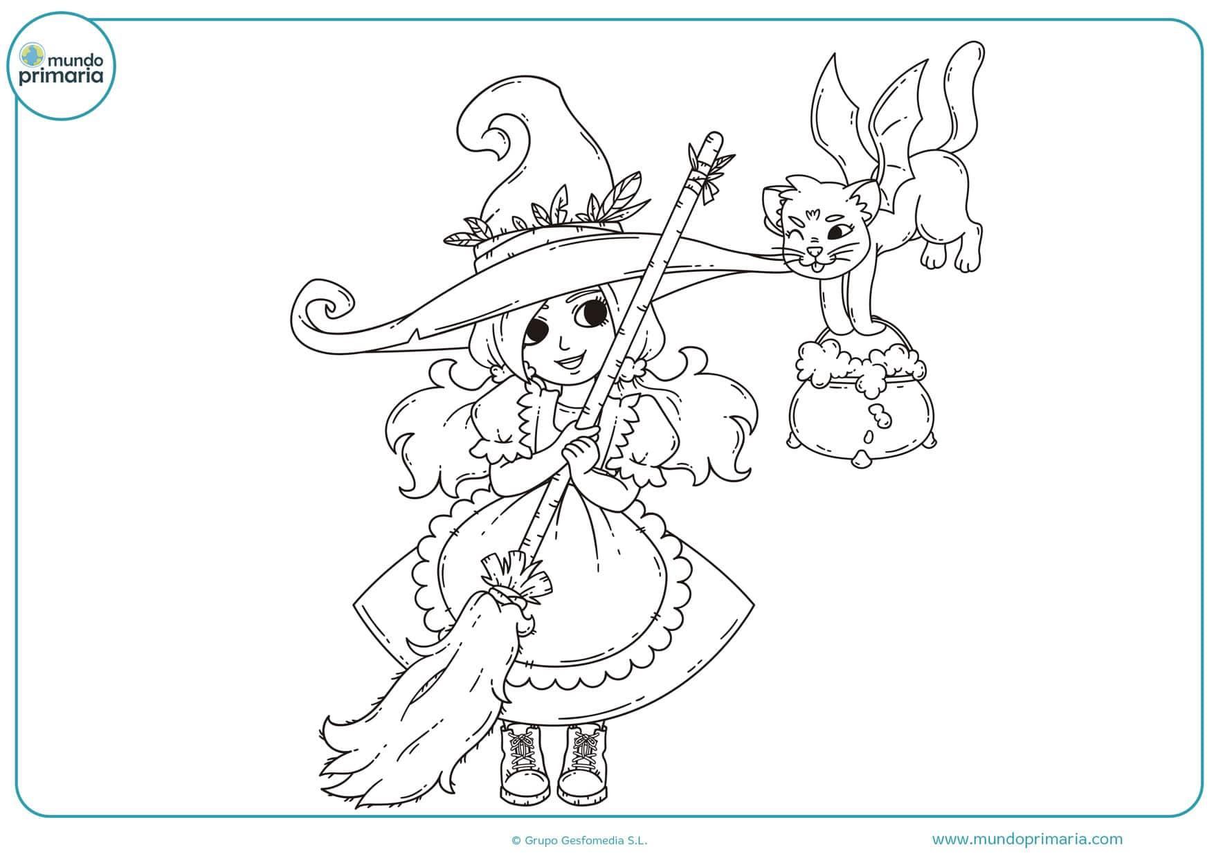 dibujos de brujas para colorear niños