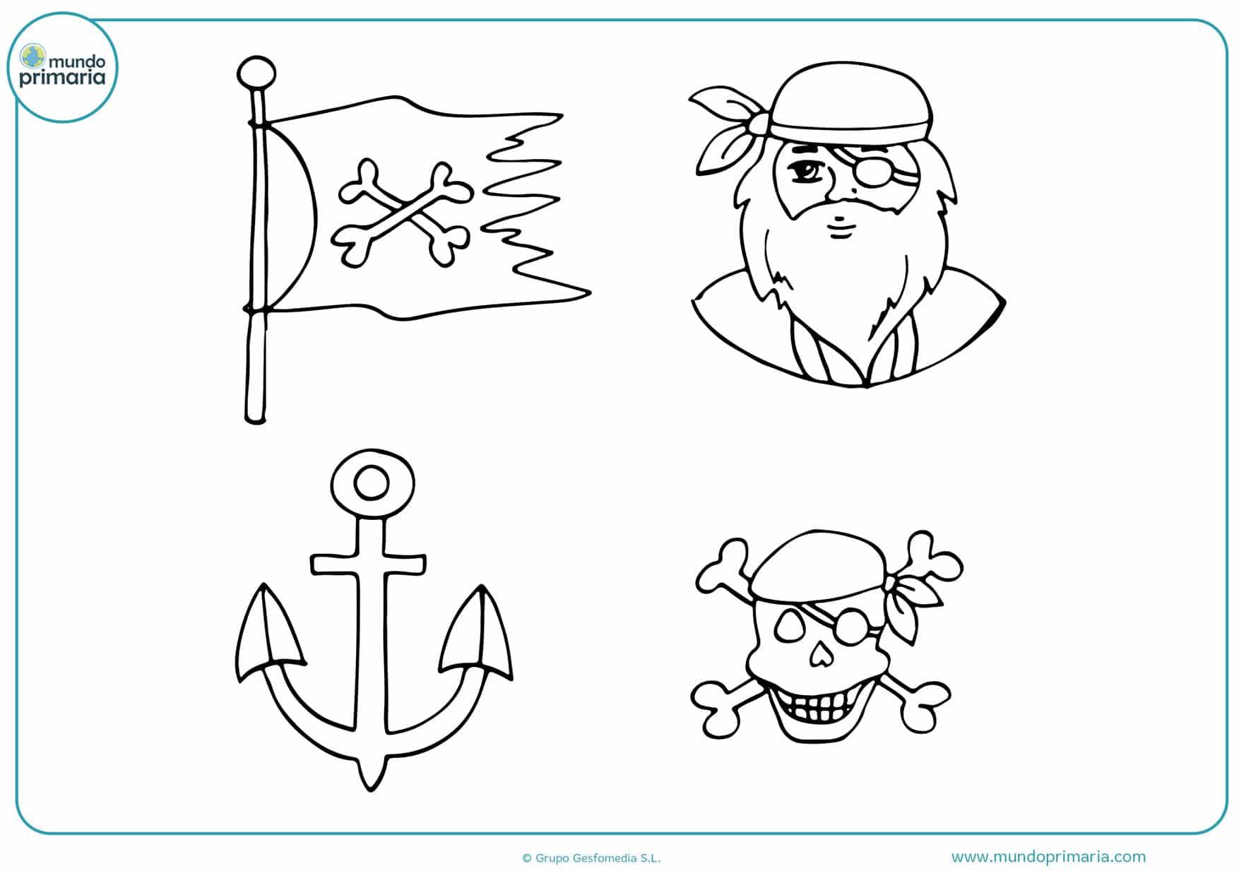 dibujos de calaveras piratas para colorear