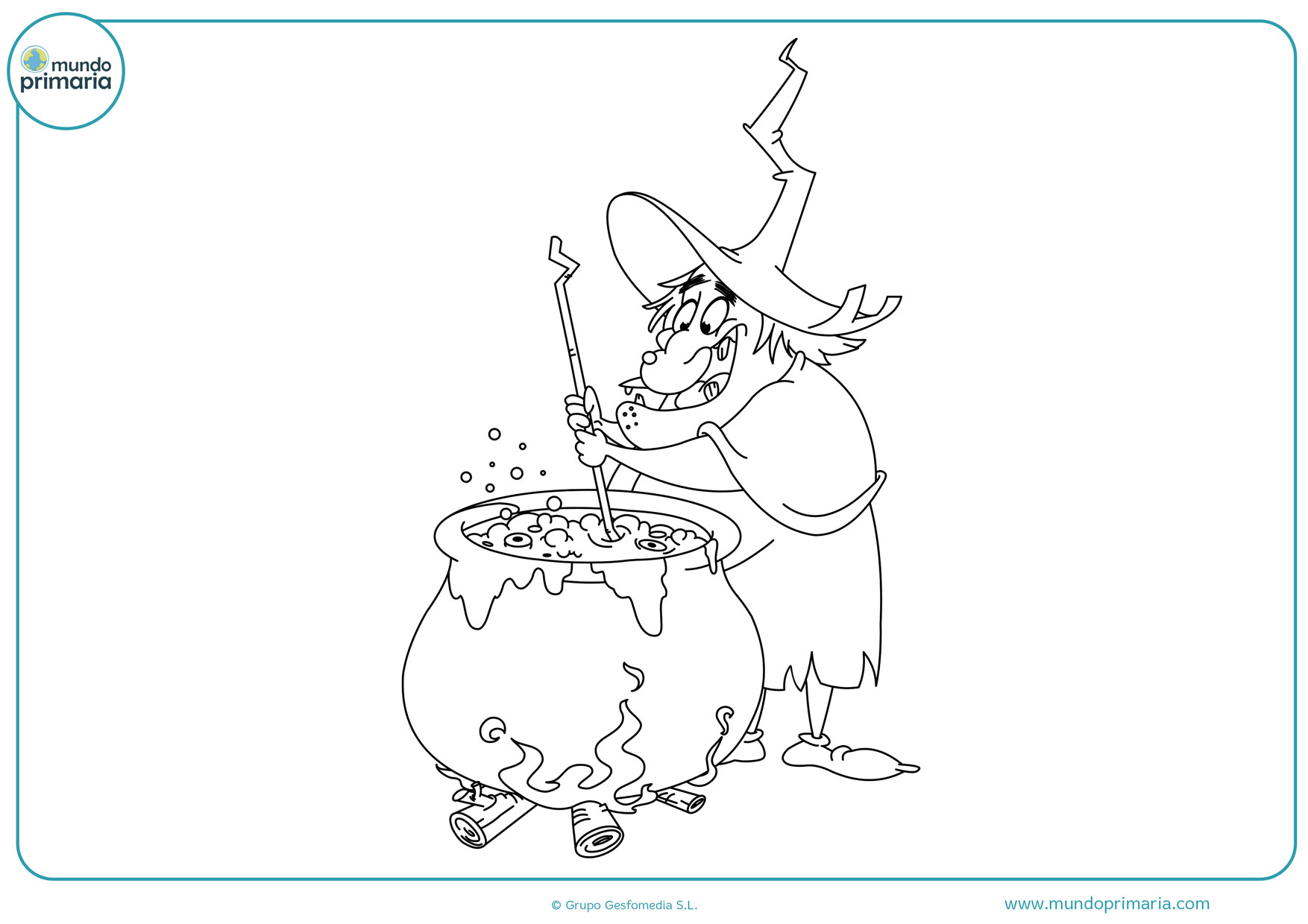 dibujos de calderos de brujas para colorear