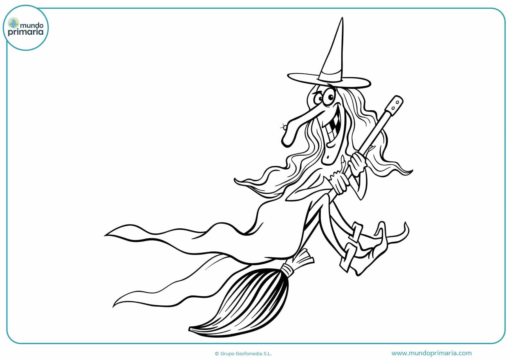 dibujos de caras de brujas para colorear