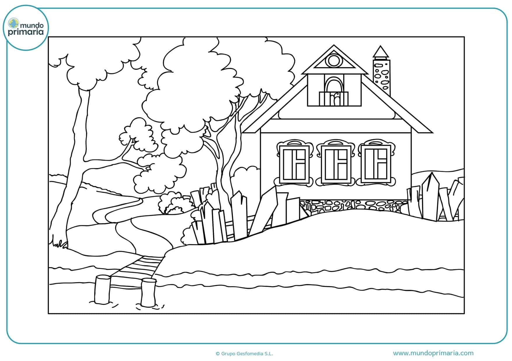 dibujos de casas modernas para colorear