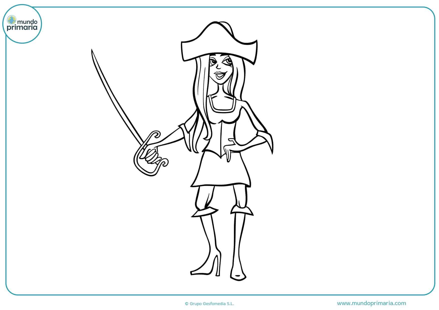 dibujos de chicas piratas para colorear