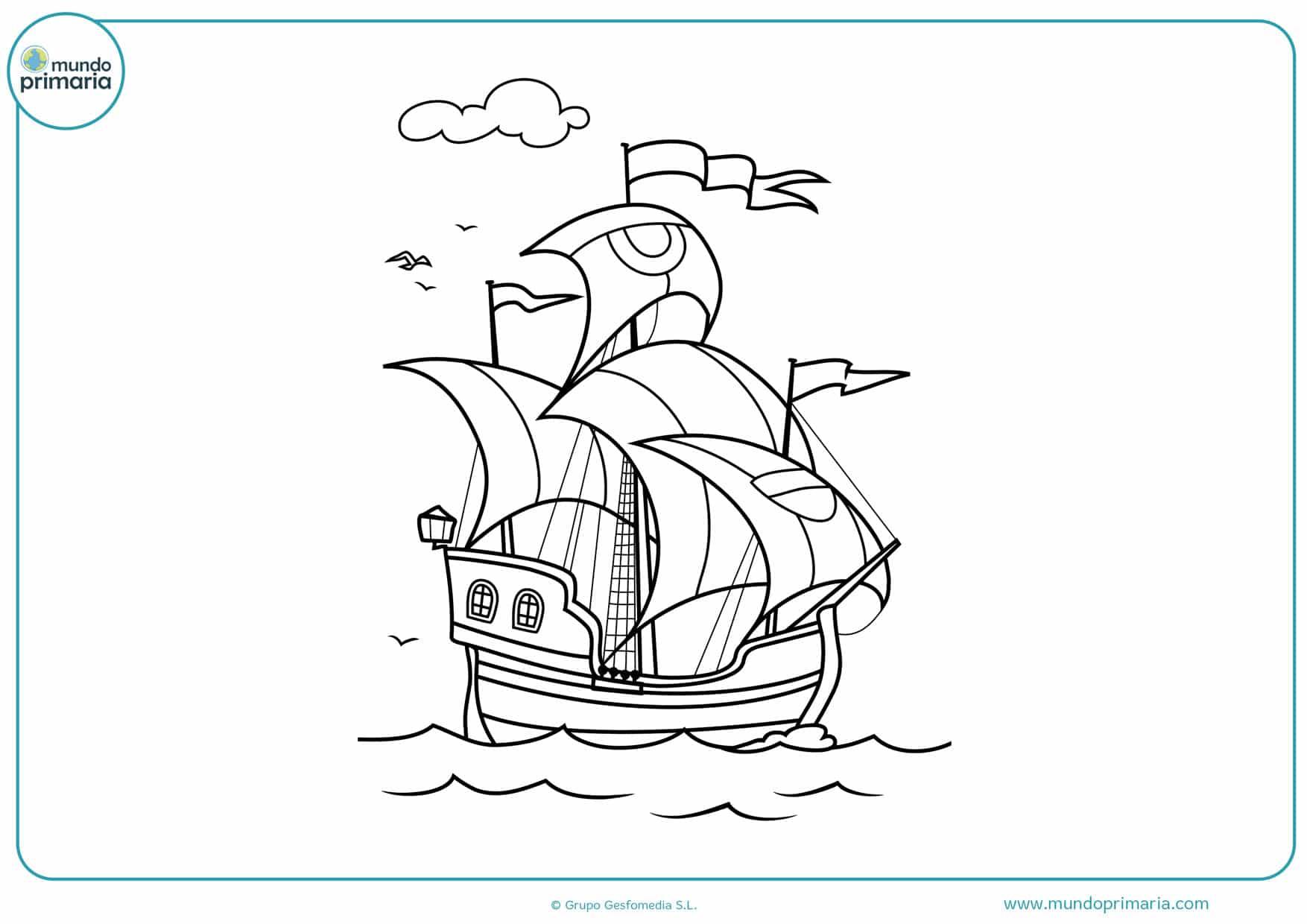 dibujos para colorear barcos piratas navegando