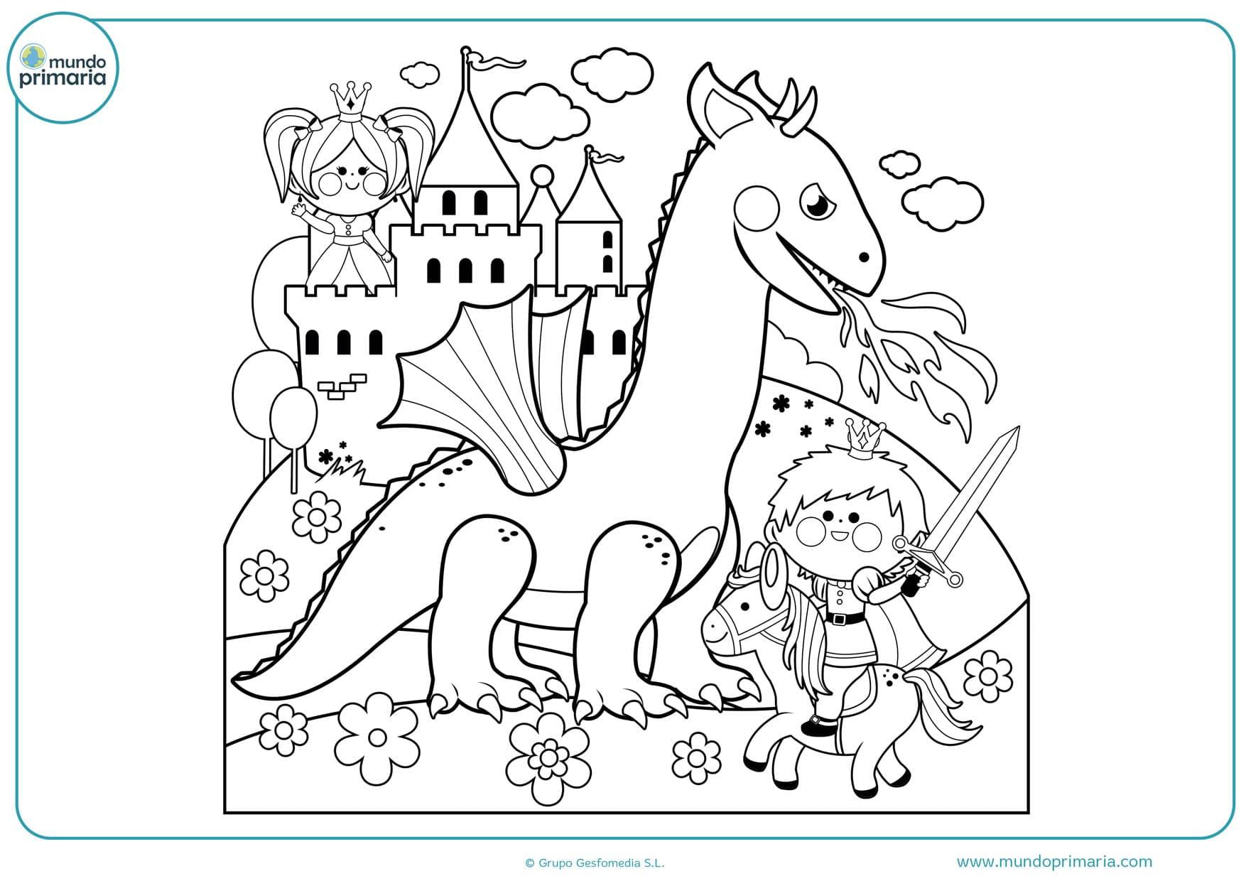 dibujos para colorear de dragones y jinetes