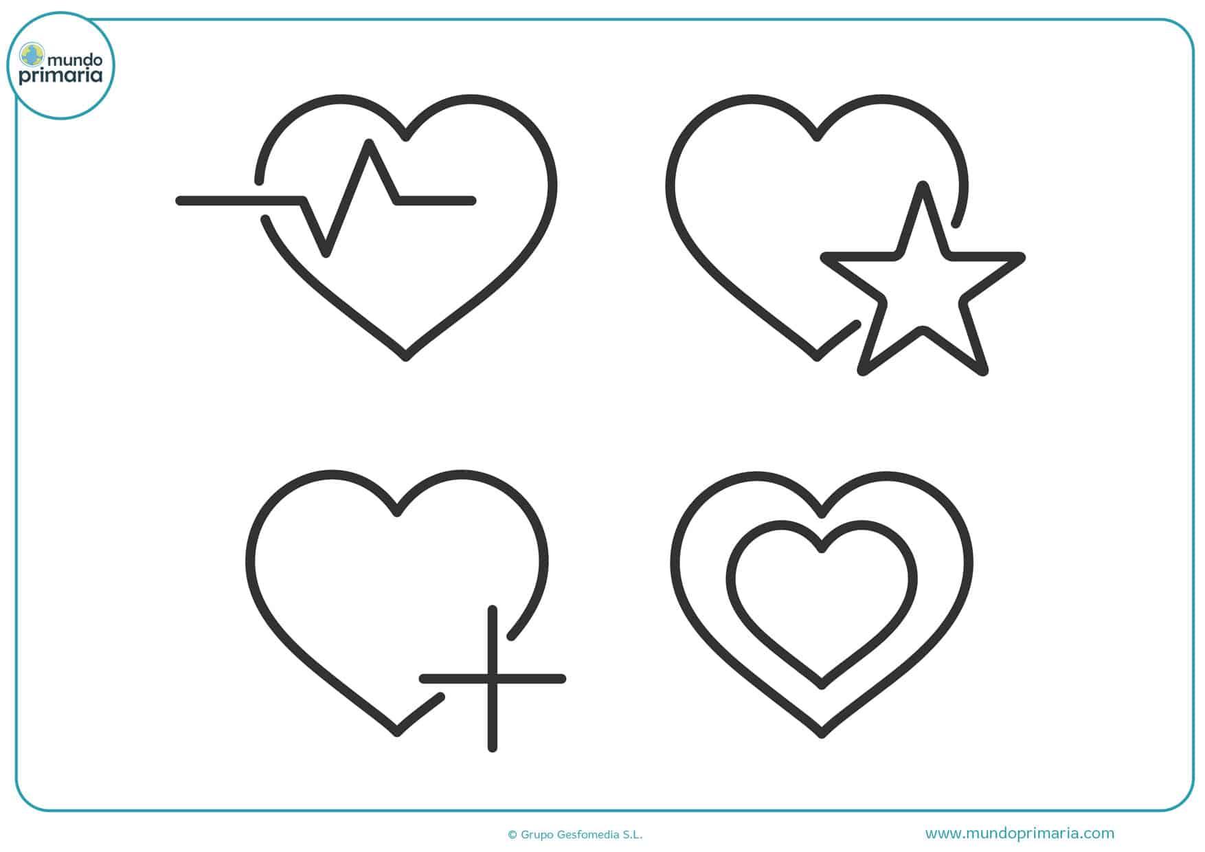 dibujos de corazones grandes para colorear