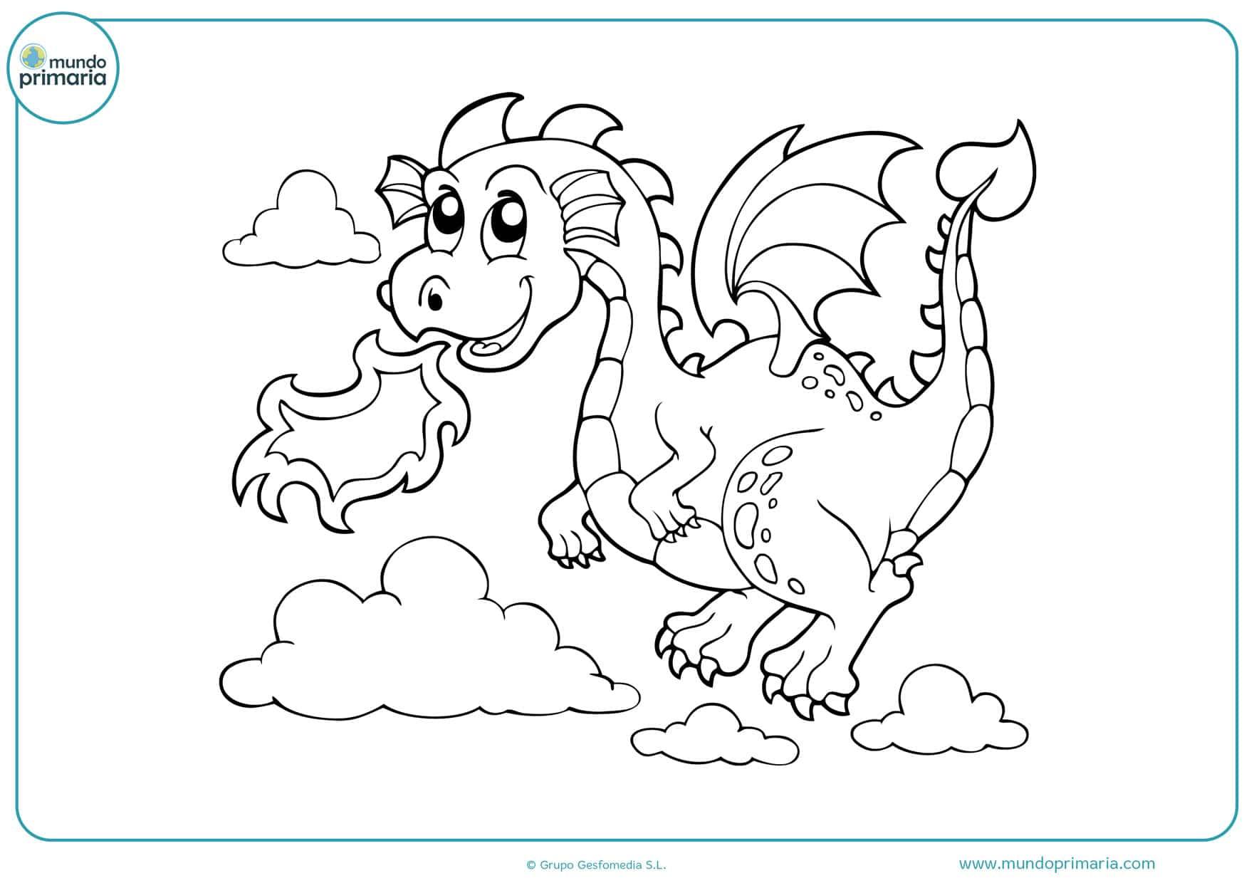 dibujos de dragones para colorear para niños