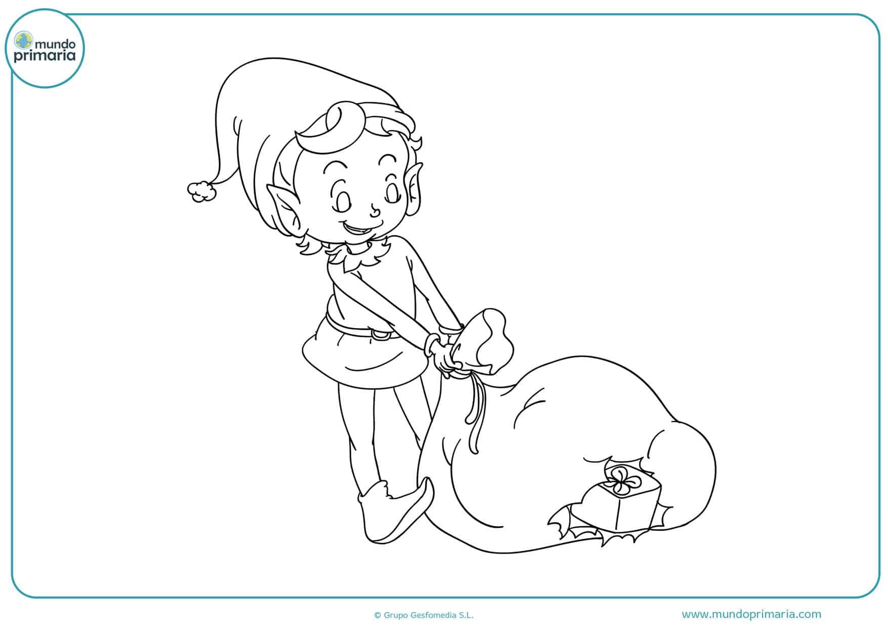 dibujos de duendes de navidad para colorear