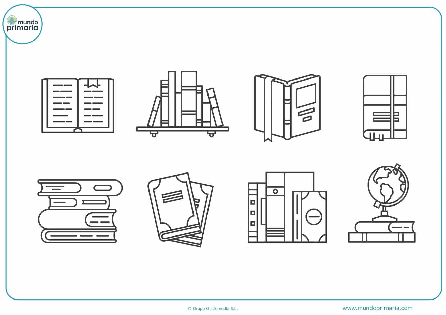 dibujos de estanterías de libros para colorear