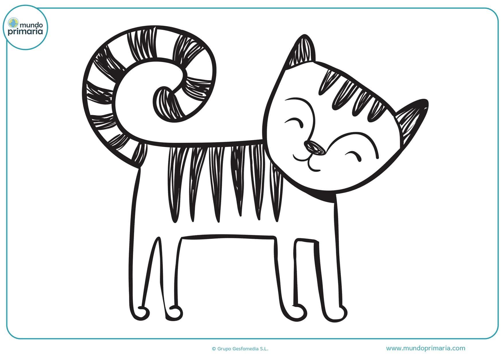 dibujos de gatos infantiles para colorear
