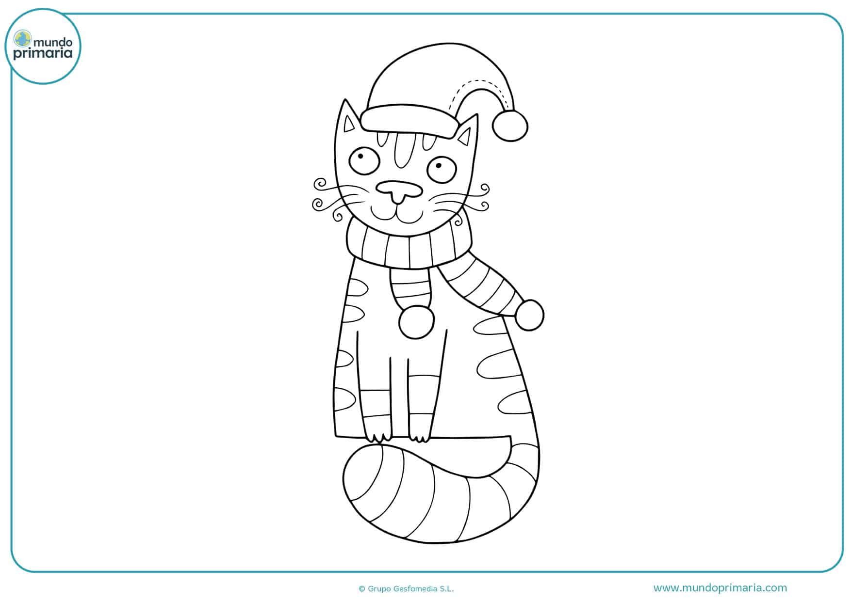 dibujos de gatos navideños para colorear