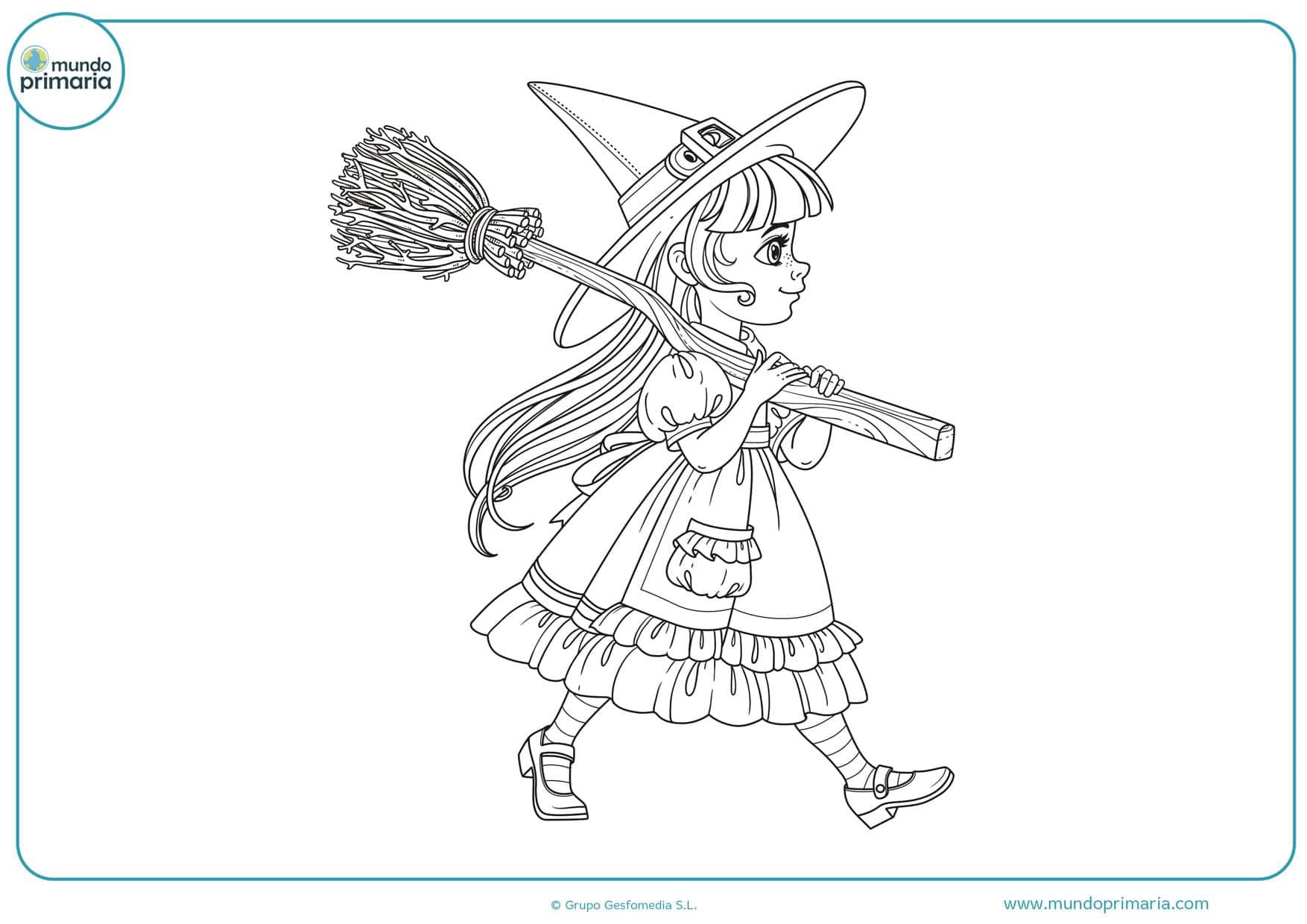 dibujos de halloween brujas para colorear