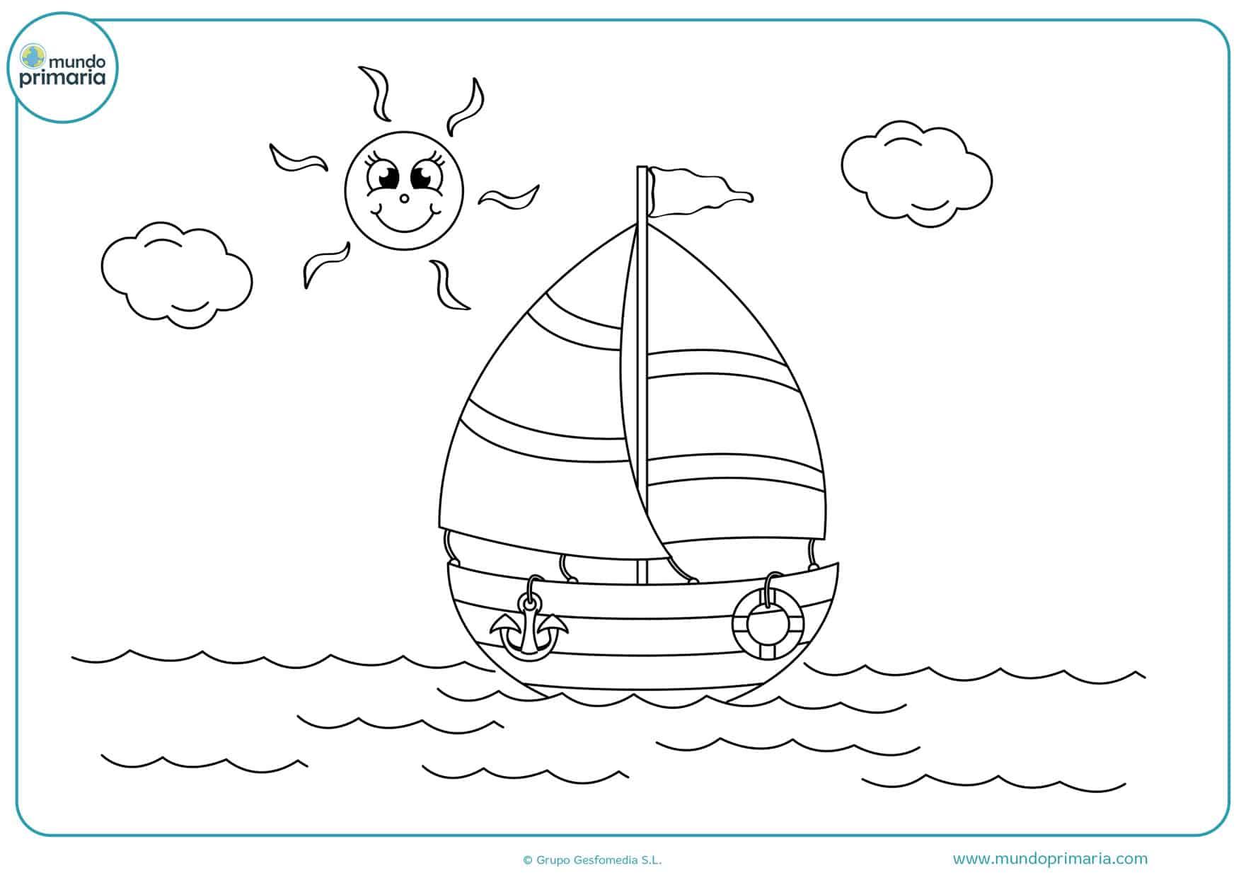 dibujos infantiles de barcos para colorear