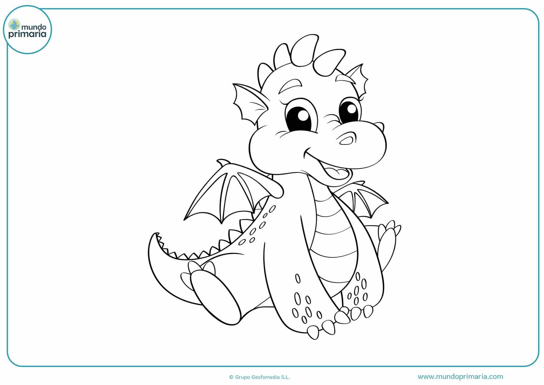 dibujos infantiles de dragones para colorear