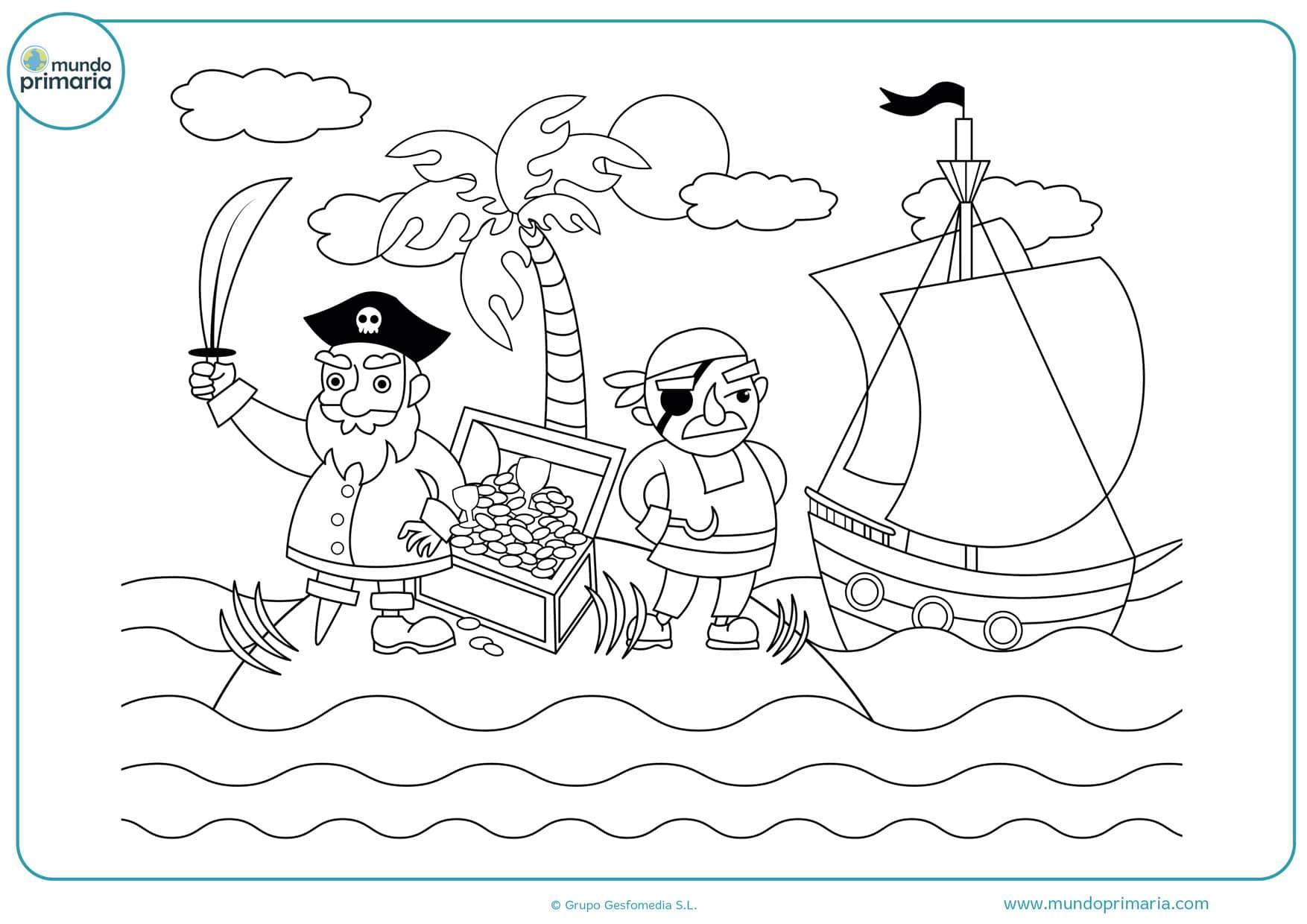dibujos de islas piratas para colorear