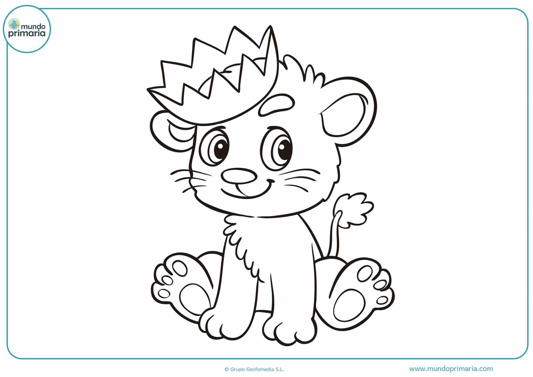 dibujos de leones bebes para colorear