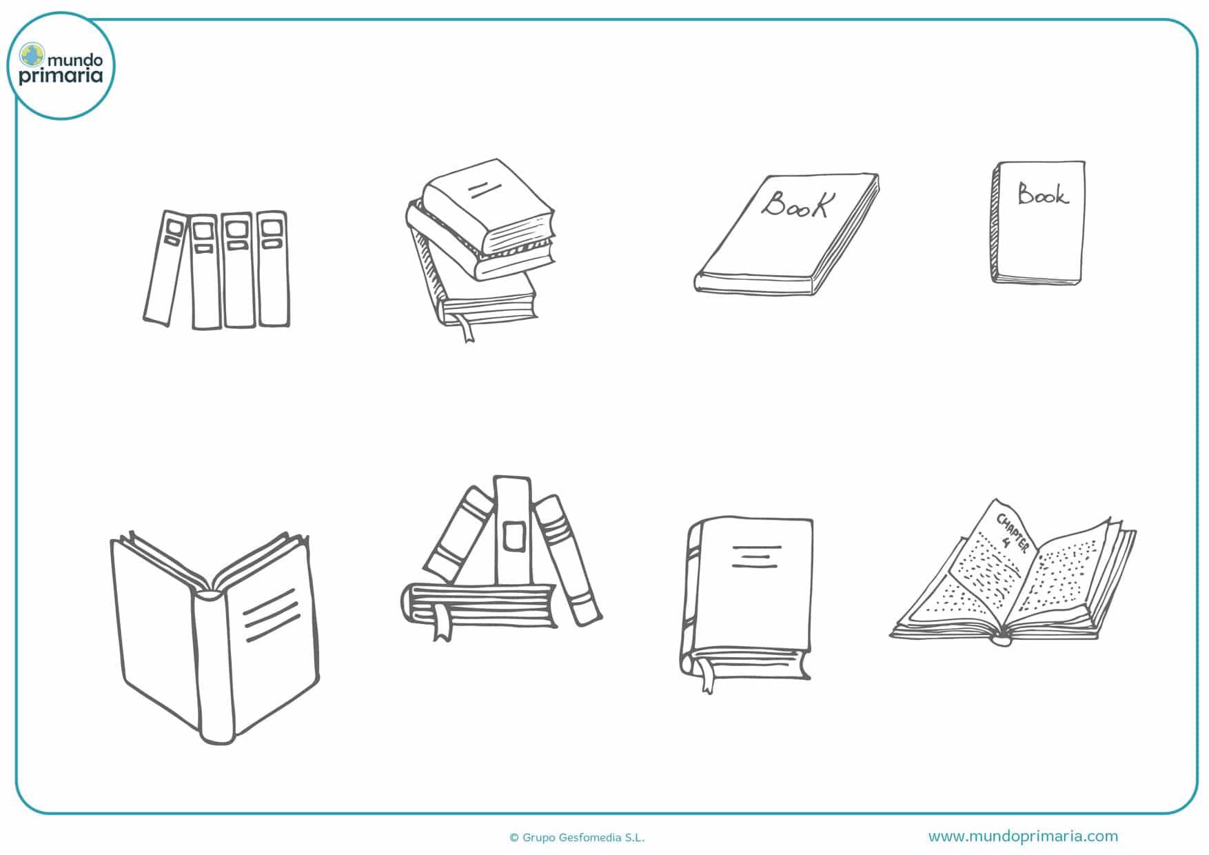 dibujos de libros sencillos para colorear