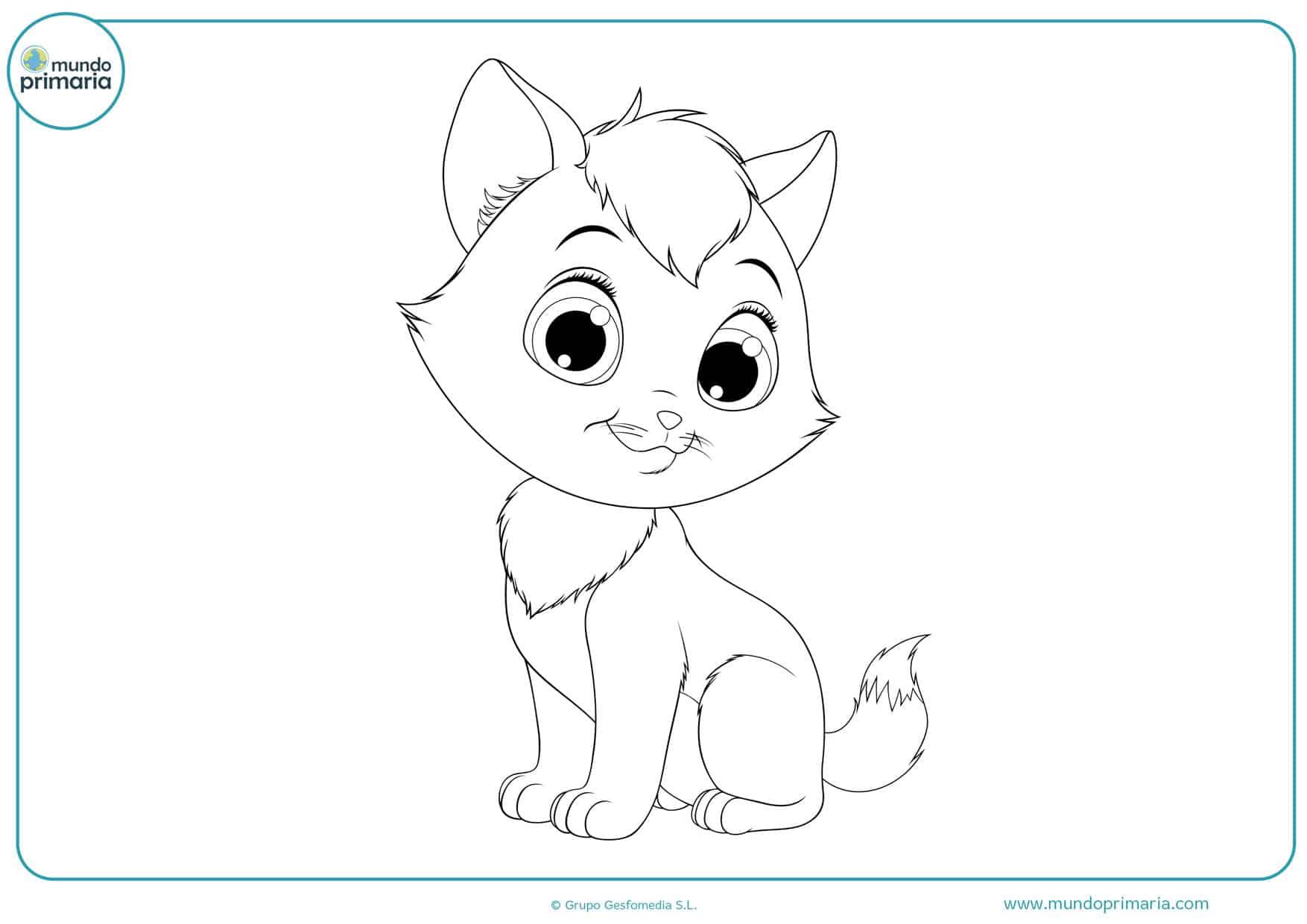 dibujos lindos para colorear de gatos