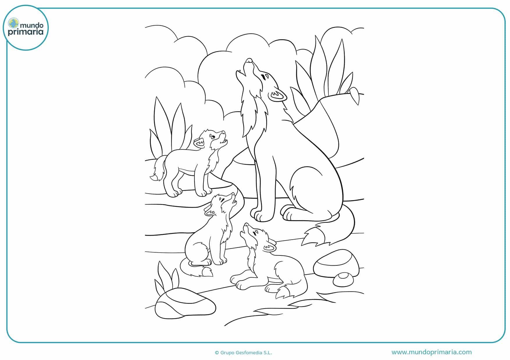 dibujos de lobos para imprimir y colorear