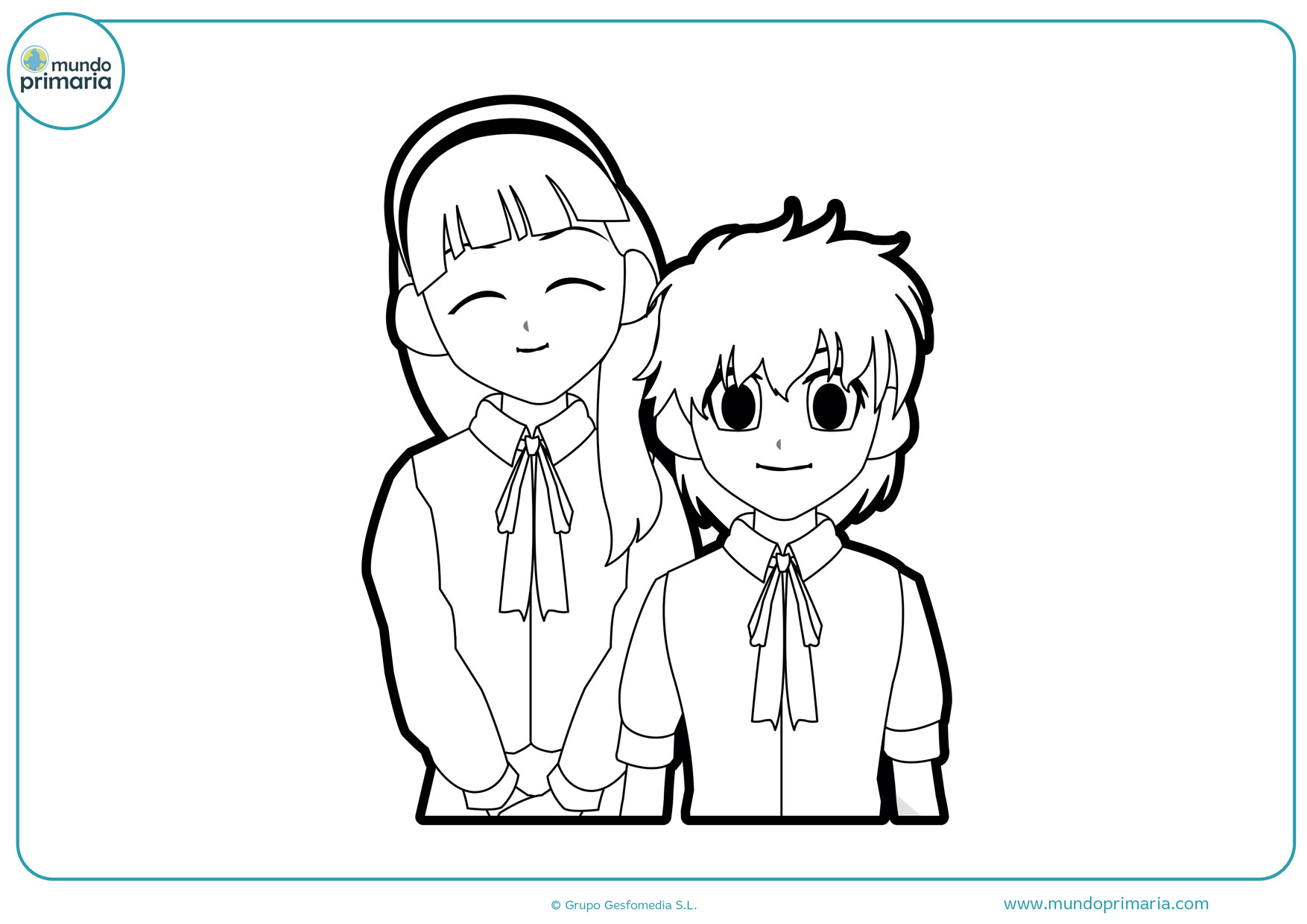 dibujos manga para colorear de amor