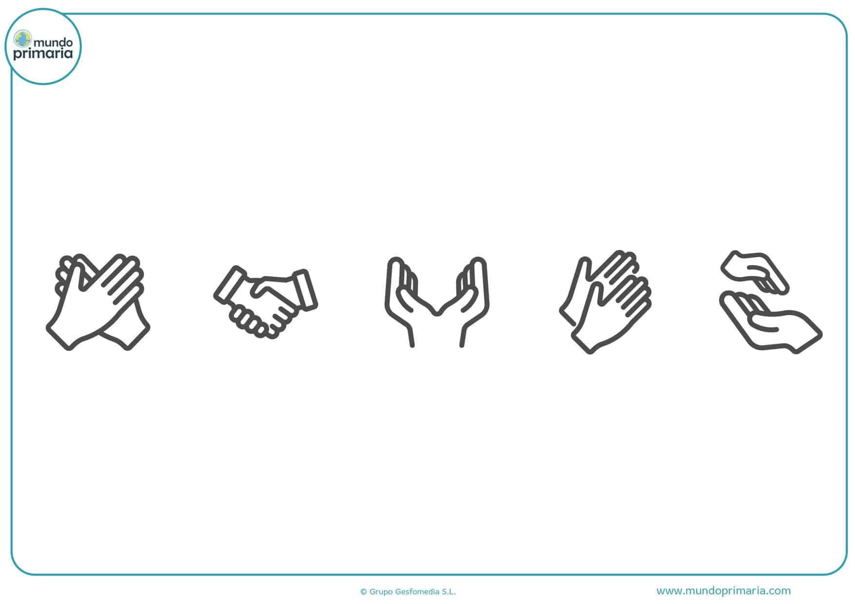 dibujos de manos animadas para colorear