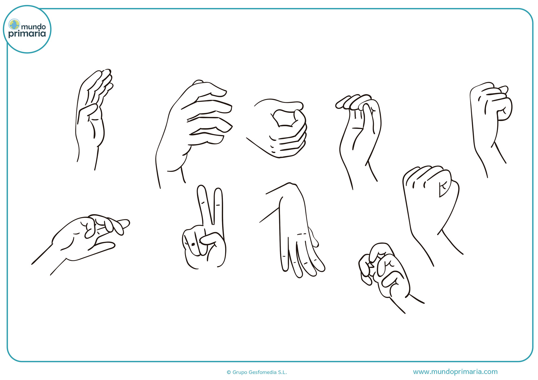 dibujos de manos fuertes para colorear