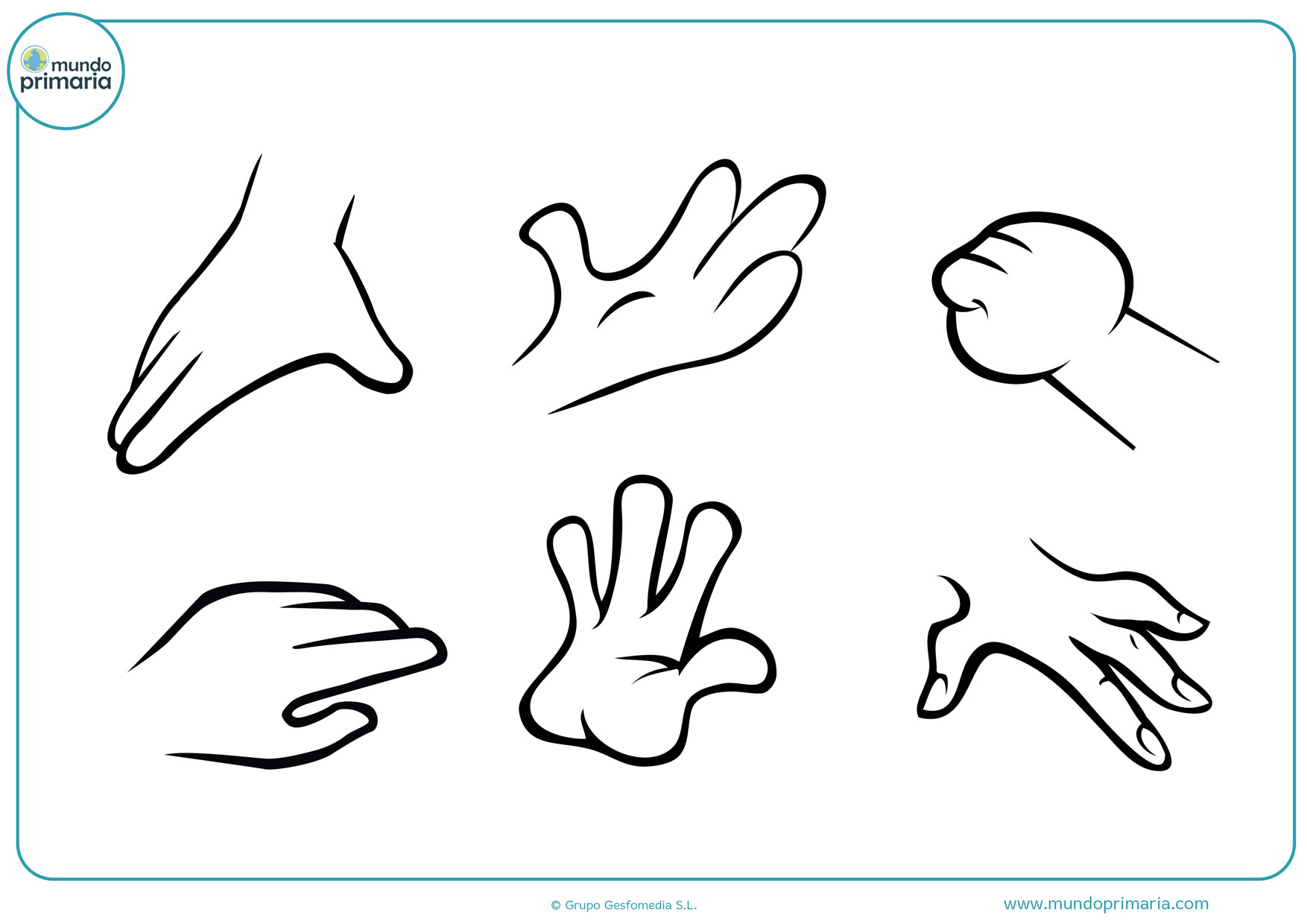 dibujos de manos infantiles para colorear
