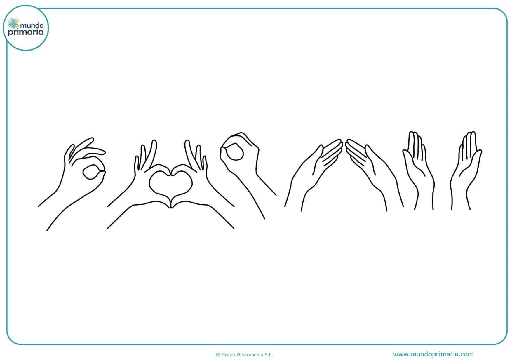 dibujos de manos para colorear e imprimir