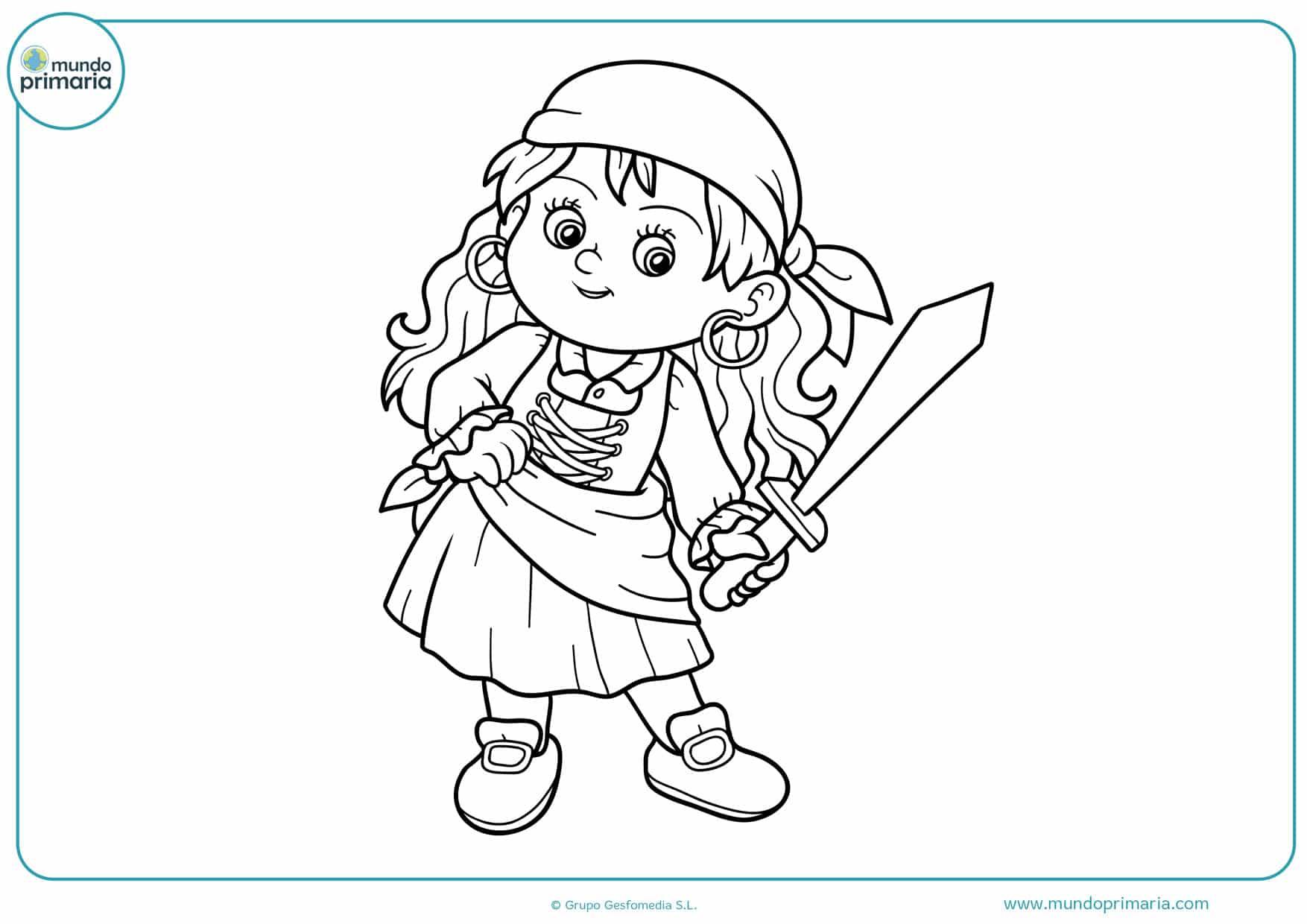 dibujos de mujeres piratas para colorear