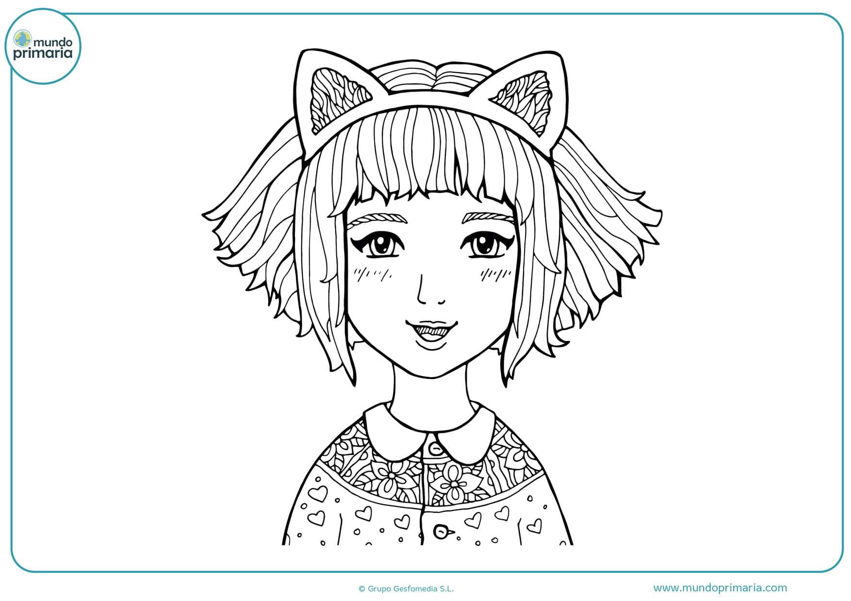 dibujos de muñecas manga para colorear