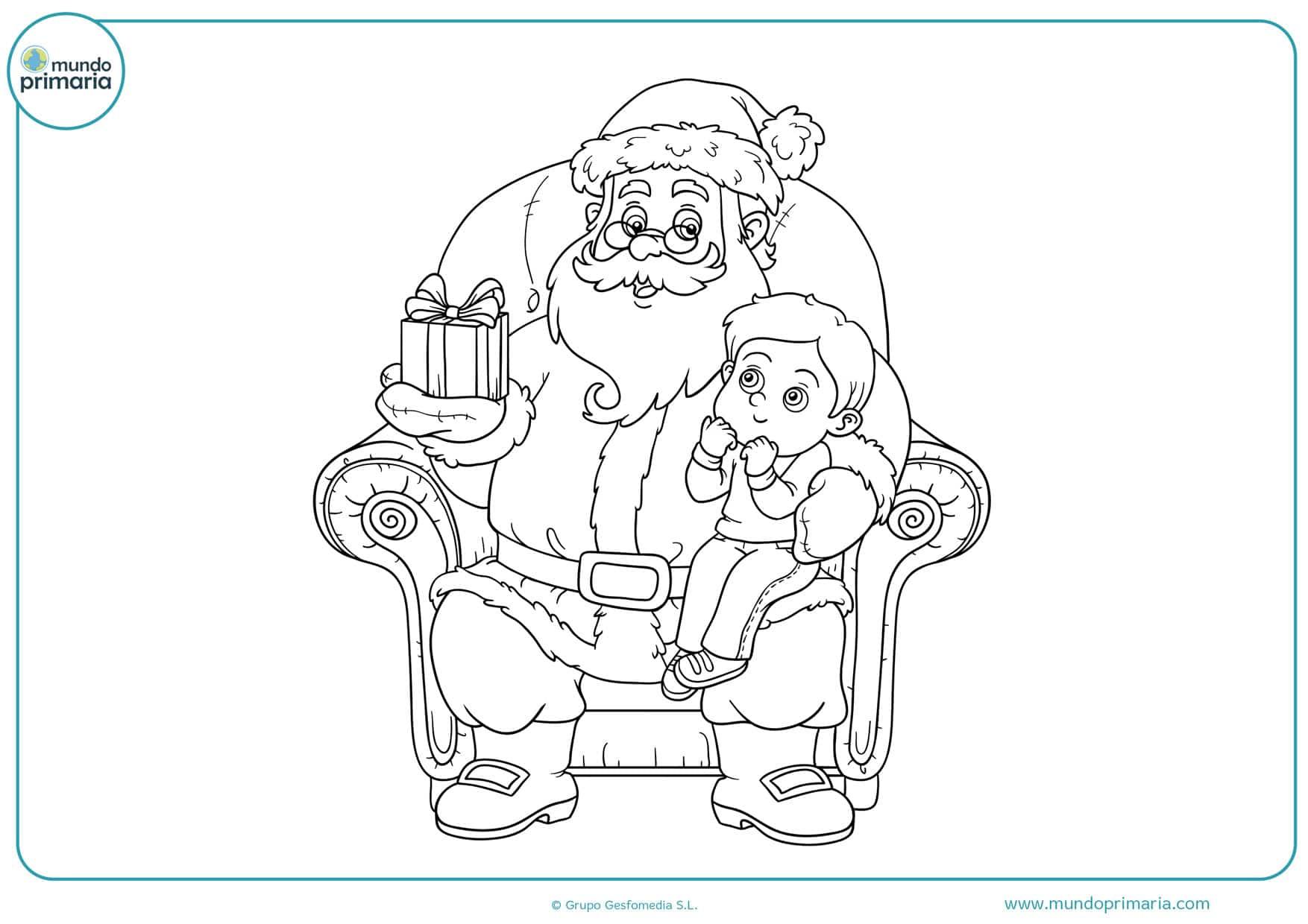 dibujos de navidad para colorear papa noel