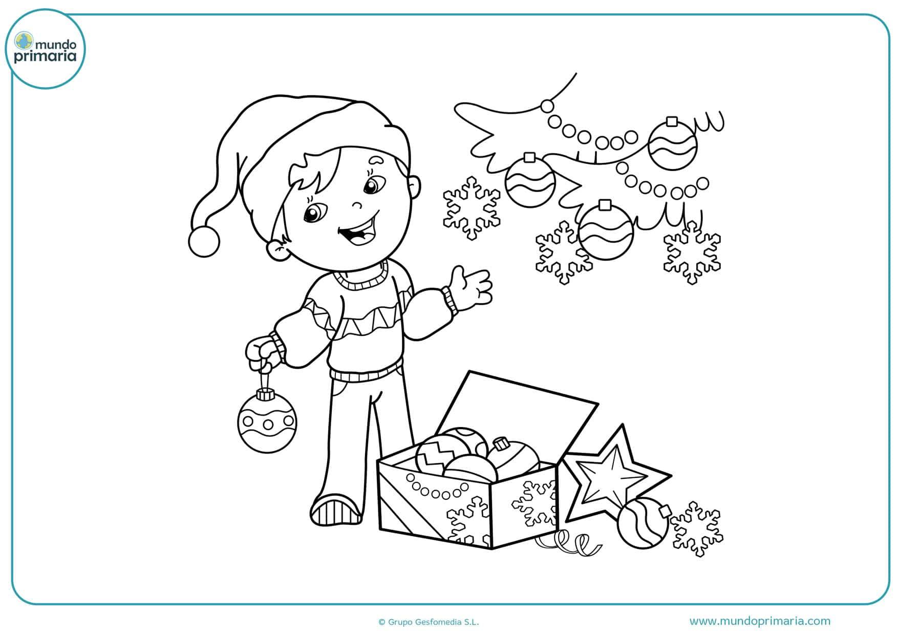 dibujos de navidad para colorear y recortar